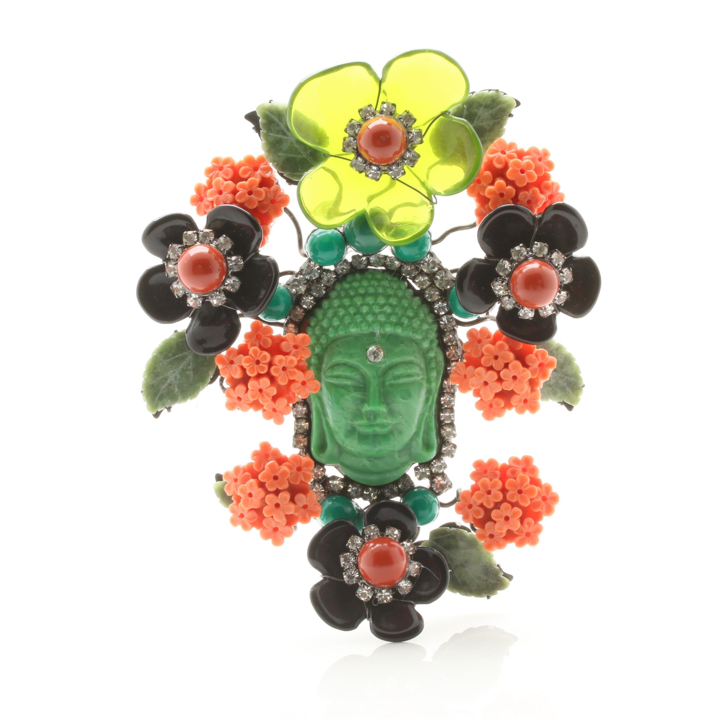 Lawrence Vrba Buddha Brooch Featuring Nephrite and Foilbacks