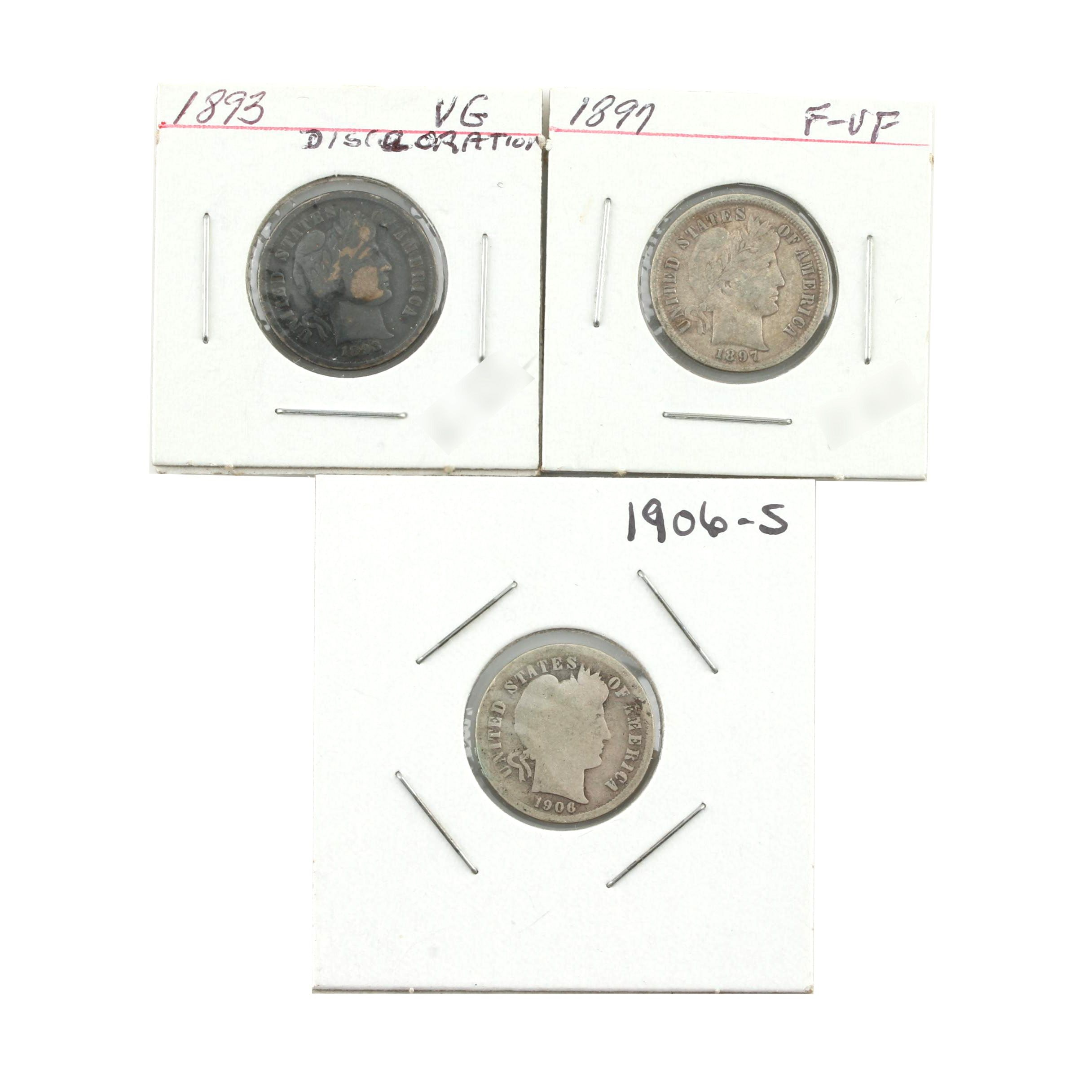 Group of Three Silver Barber Dimes: 1893, 1897, 1906-S