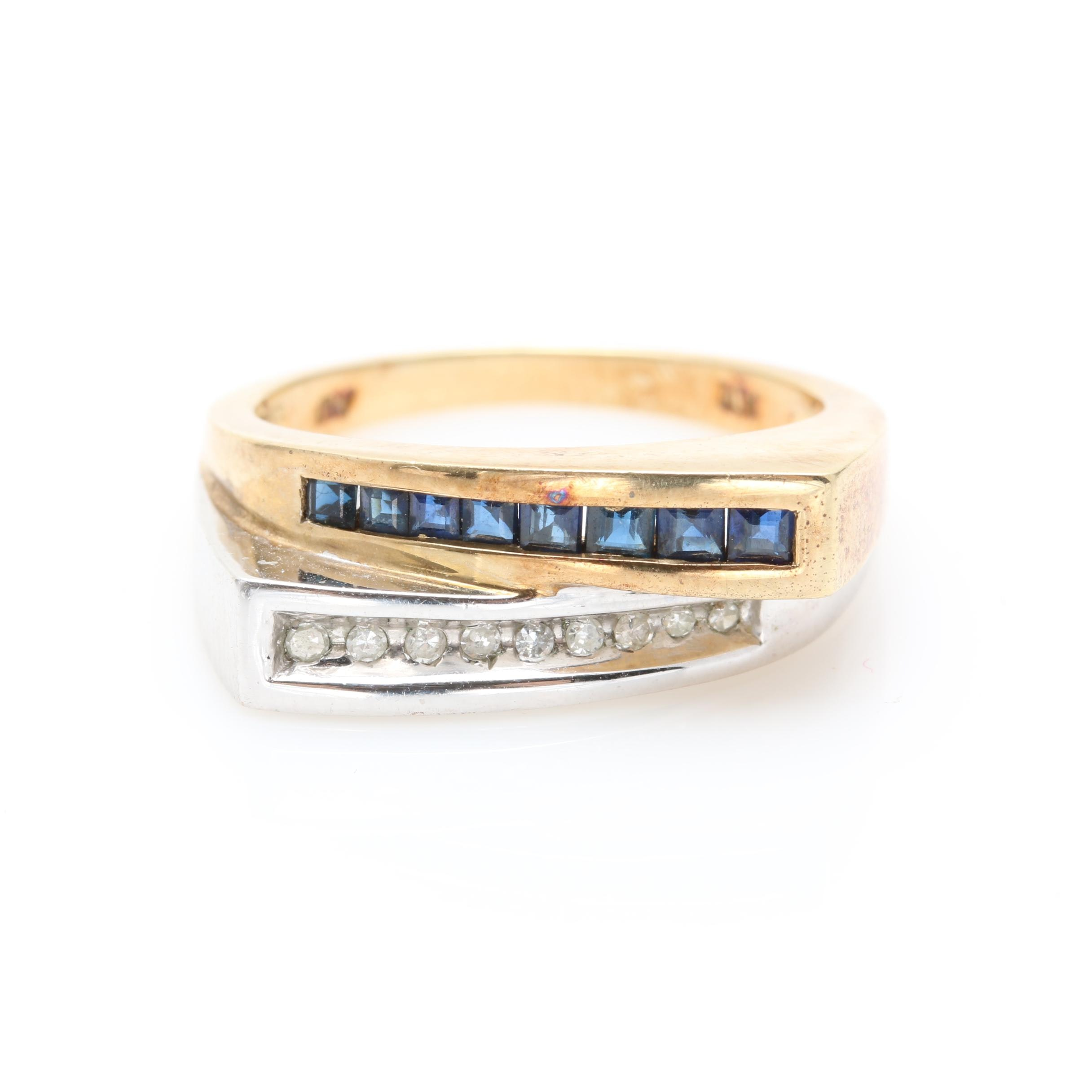 10K Yellow and White Gold Sapphire and Diamond Ring