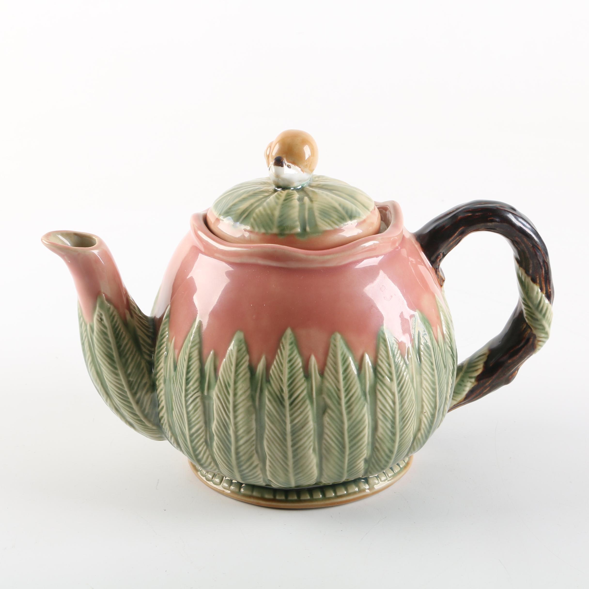 "CBK Ltd. ""Nouveau Majolica"" Ceramic Teapot"