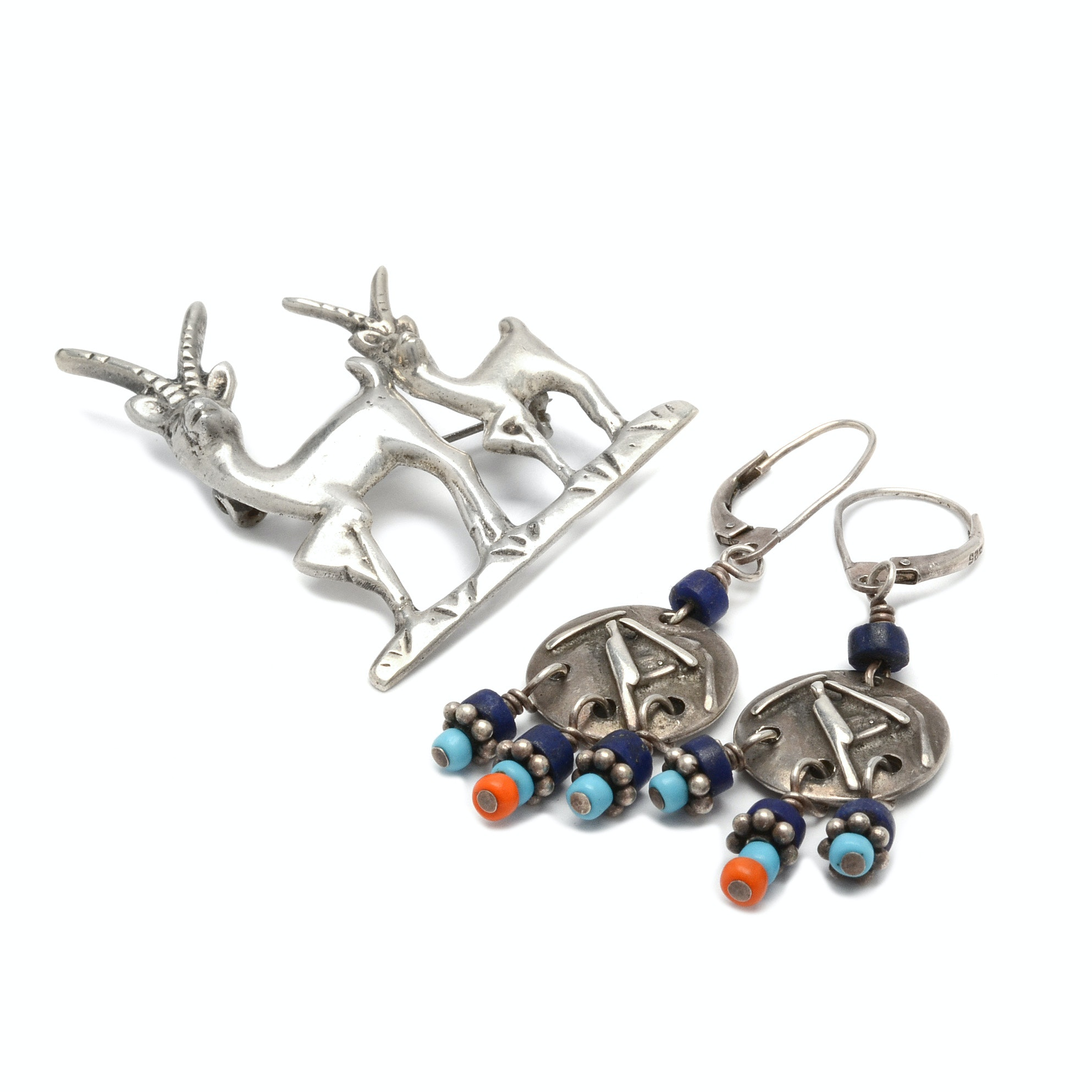 Sterling Silver Antelope Brooch and Signed Southwest Style Earrings