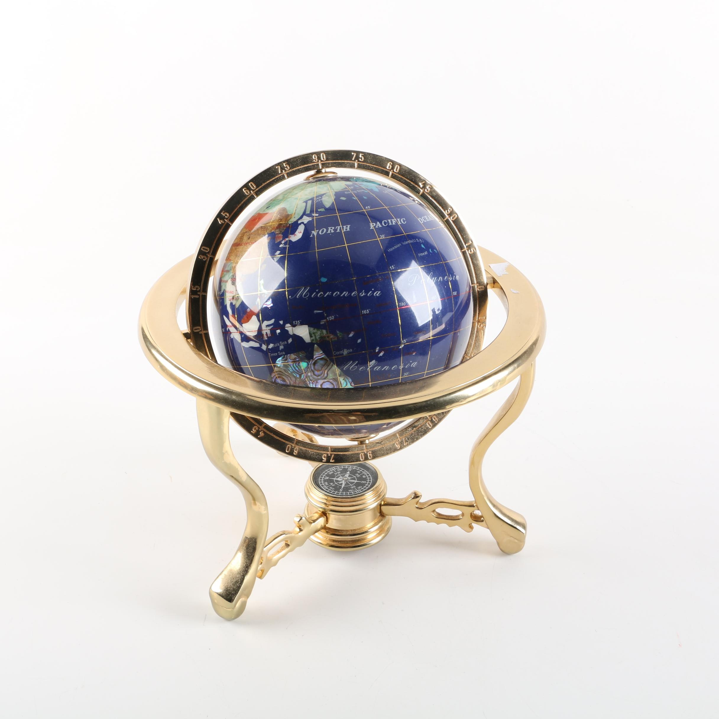 Globe With Stone Inlay Details in a Brass Stand