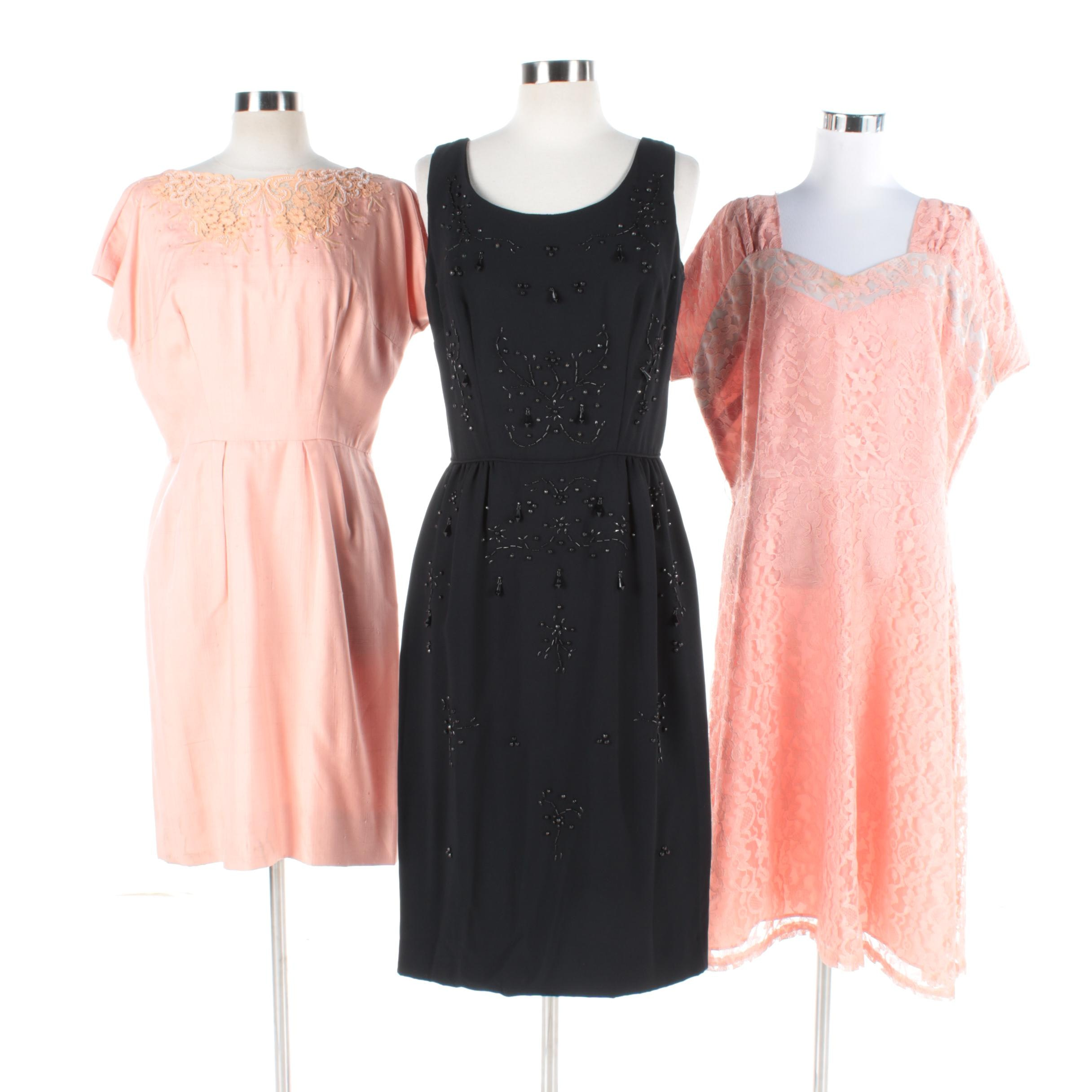 Women's Vintage Dresses with Lace and Bead Accents