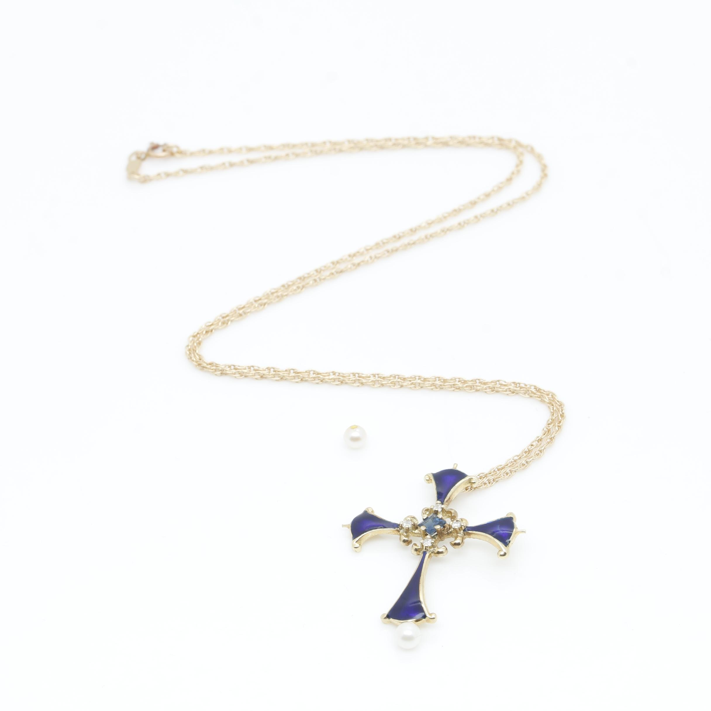 14K Yellow Gold Blue Sapphire, Cultured Pearl and Diamond Cross Pendant Necklace