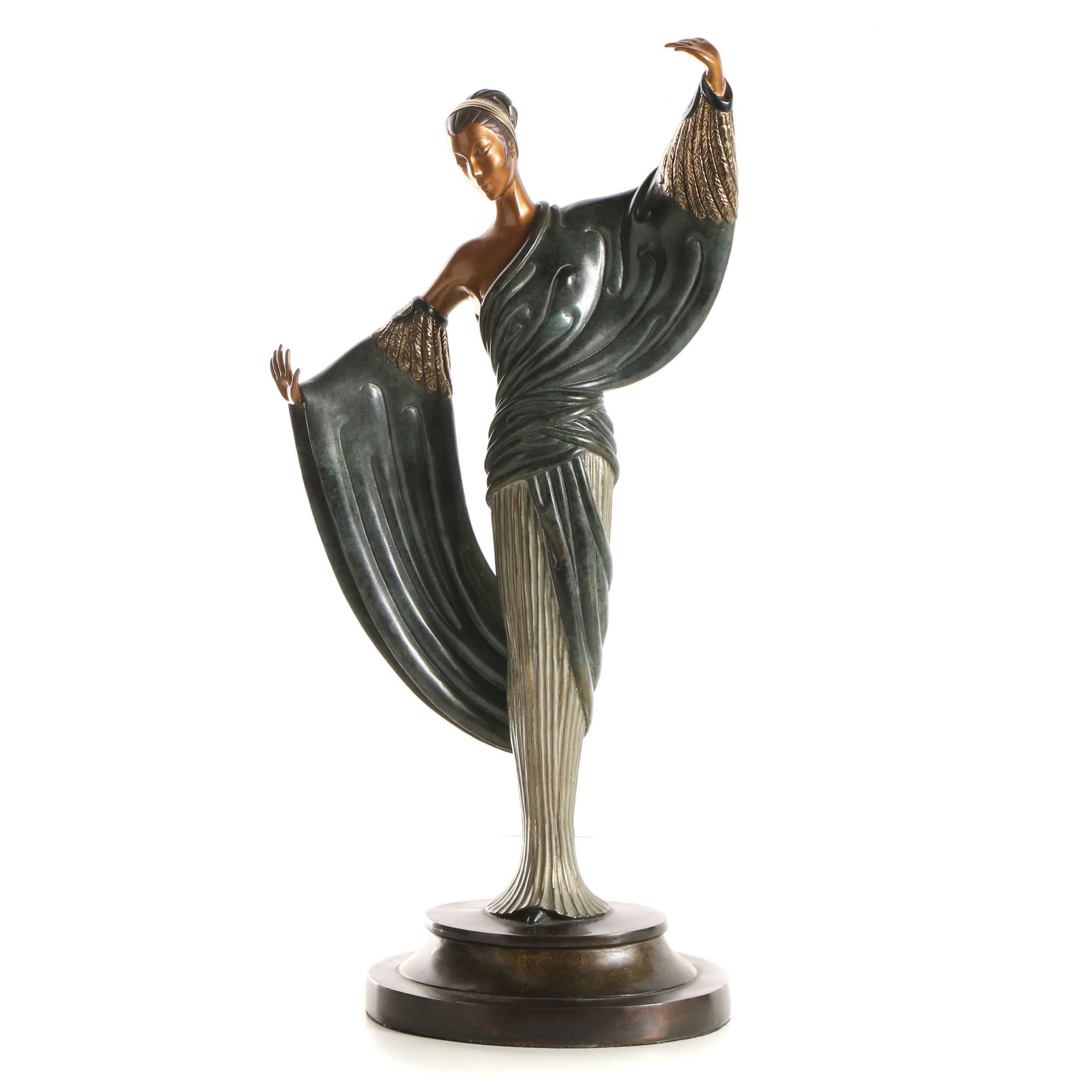 "Erté Patinated Bronze Sculpture ""In the Evening"""