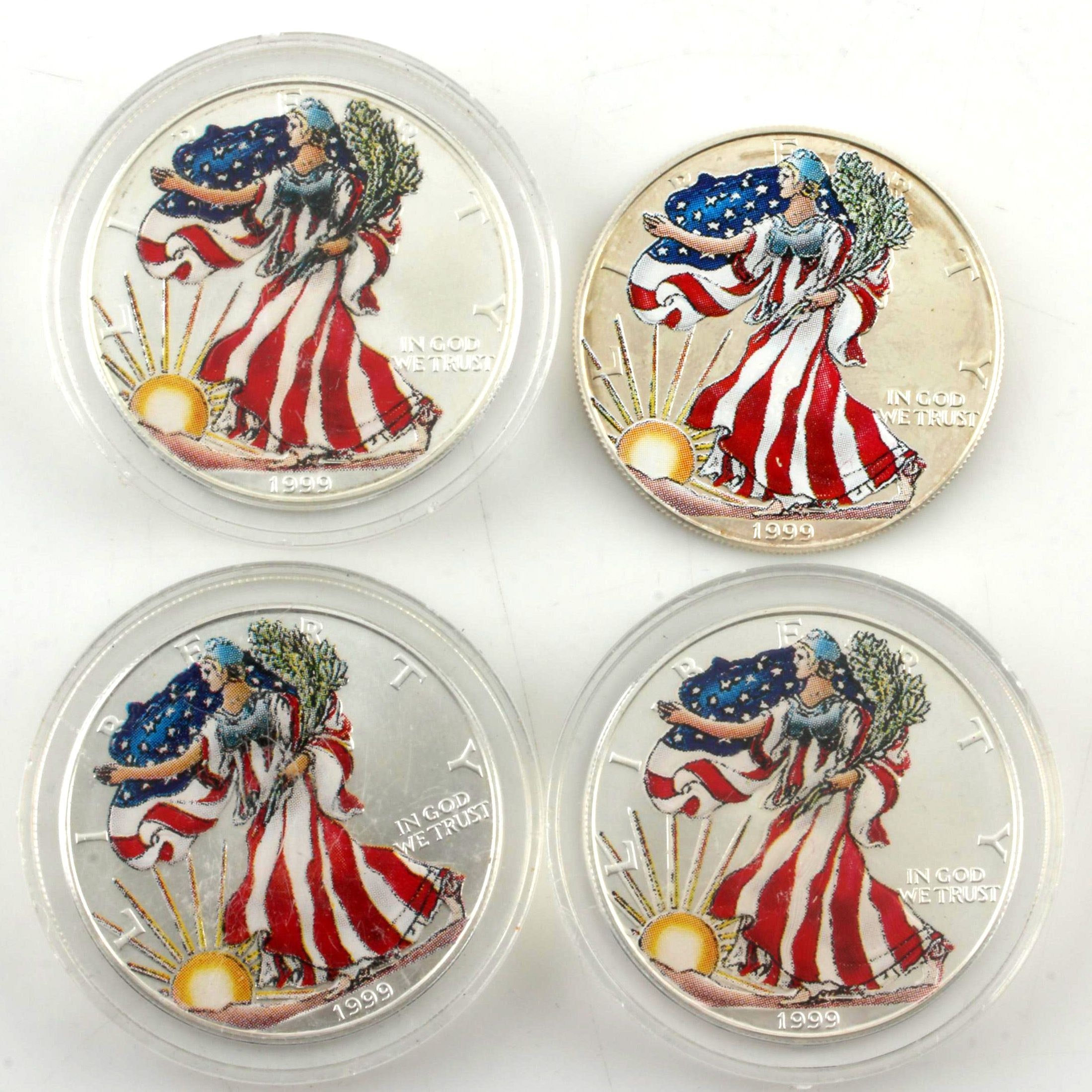 Four Colorized 1999 Walking Liberty Silver Eagle Bullion Coins