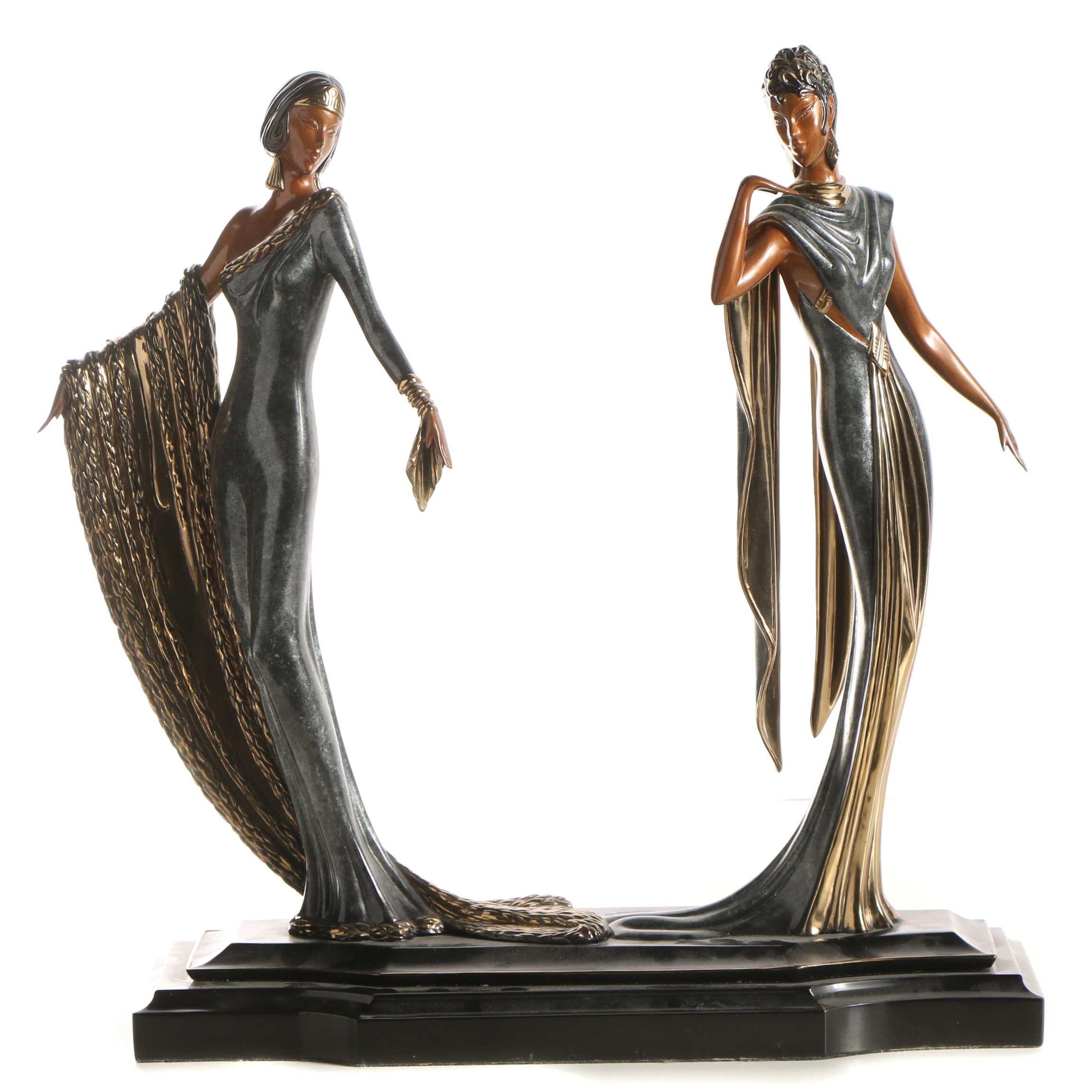 "Erté Patinated Bronze Sculpture ""Duetto"""