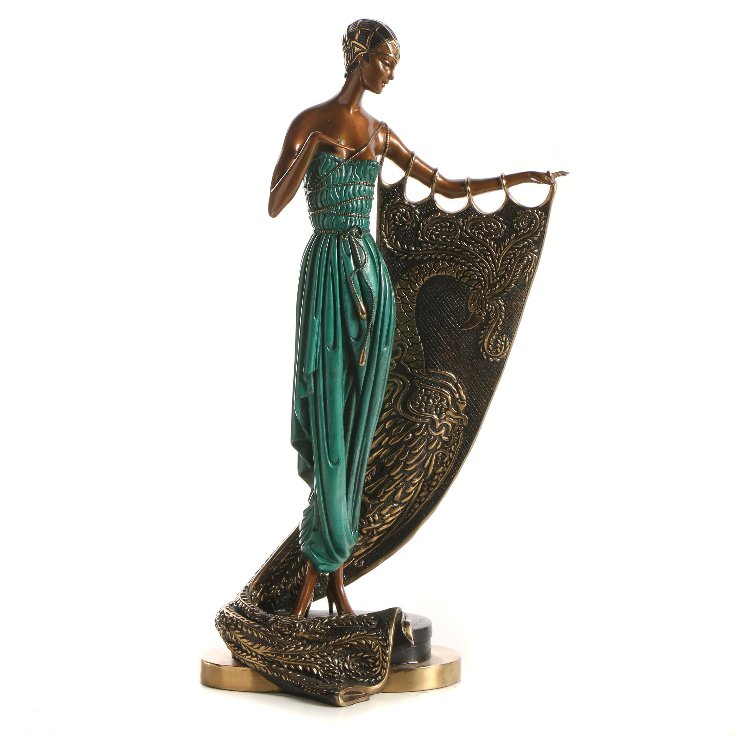 "Erté Patinated Bronze Sculpture ""Emerald Night"""