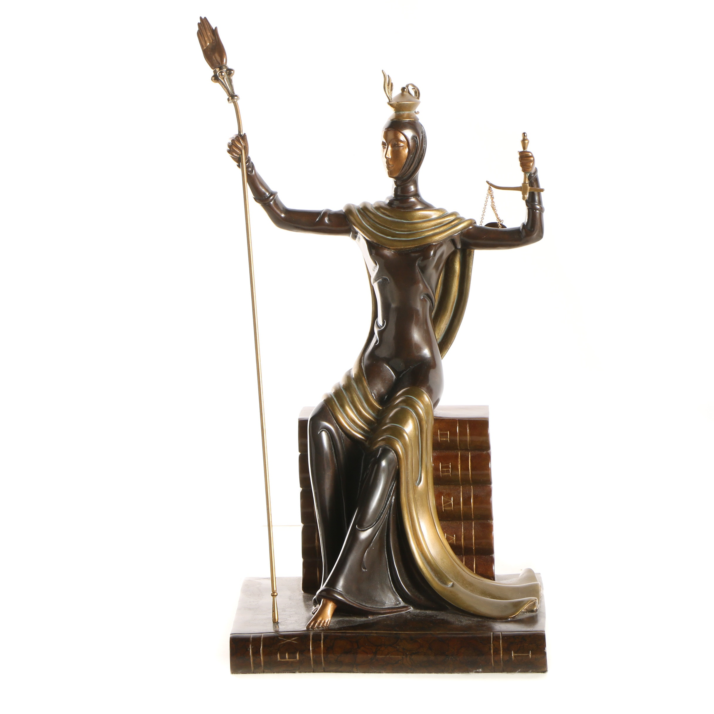 "Erté Patinated Bronze Sculpture ""Justice"""