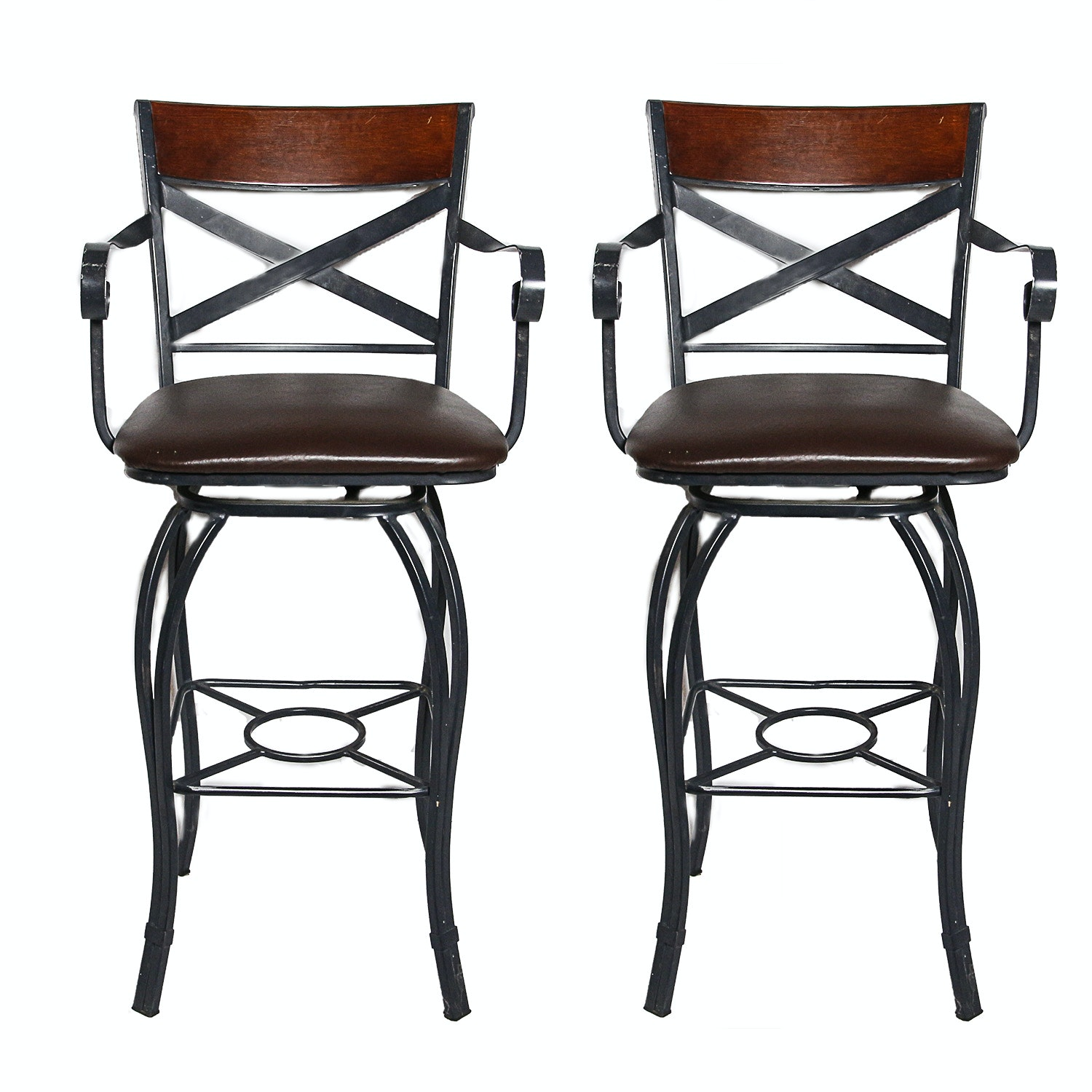 Pair of Wrought Iron Style Barstools with Leather Upholstery