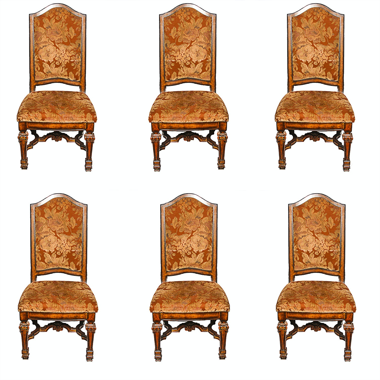 Set of Six Italian Regency Style Dining Chairs