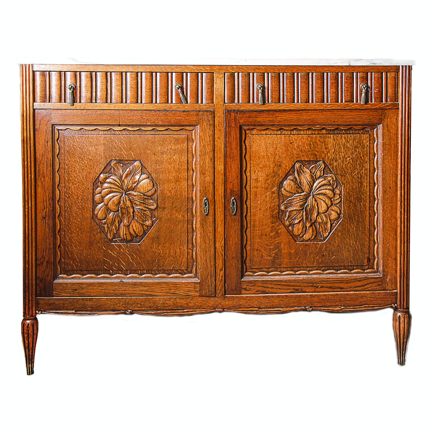 Art Deco Marble Top Carved Oak Buffet