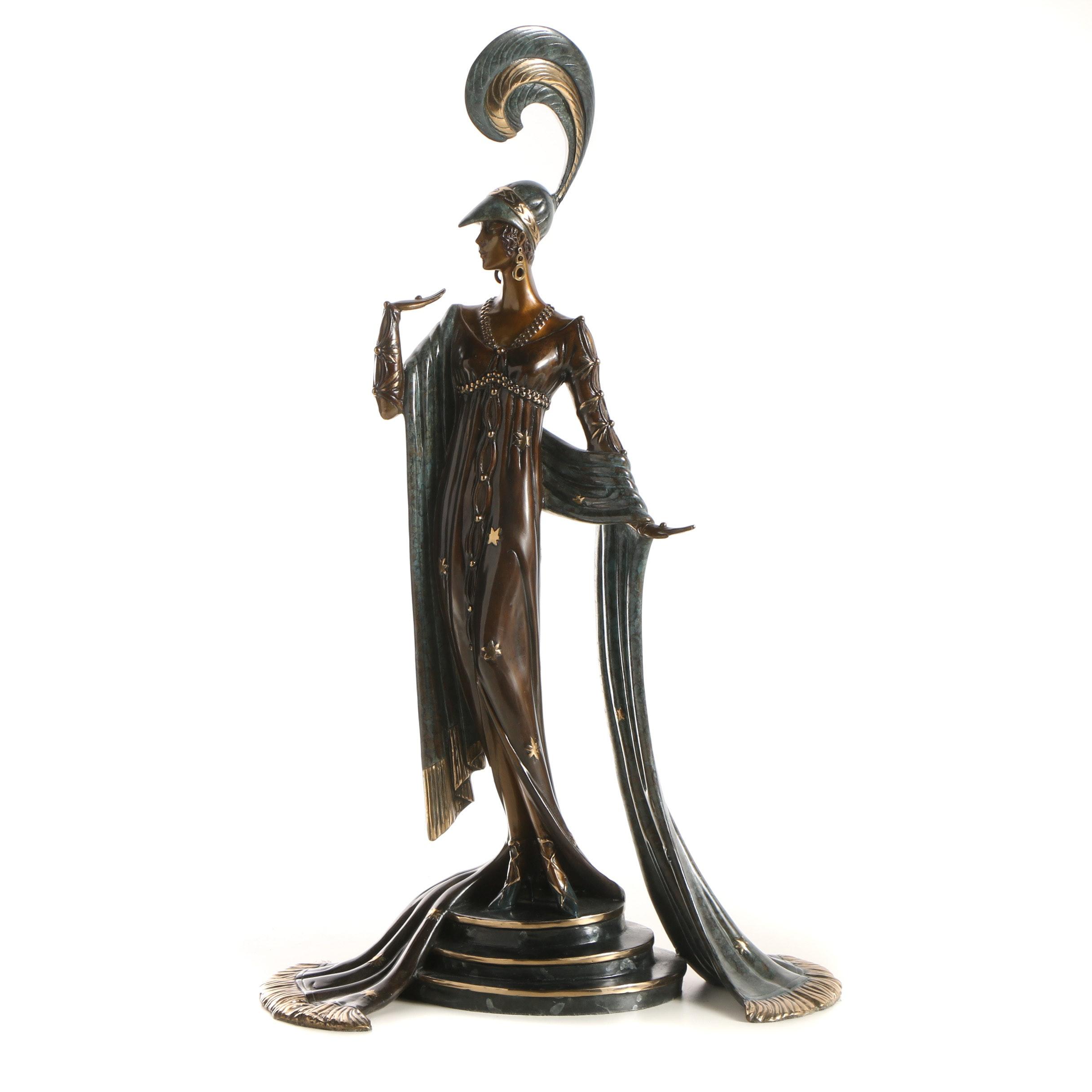 """Erté Patinated Bronze Sculpture """"Directoire"""""""