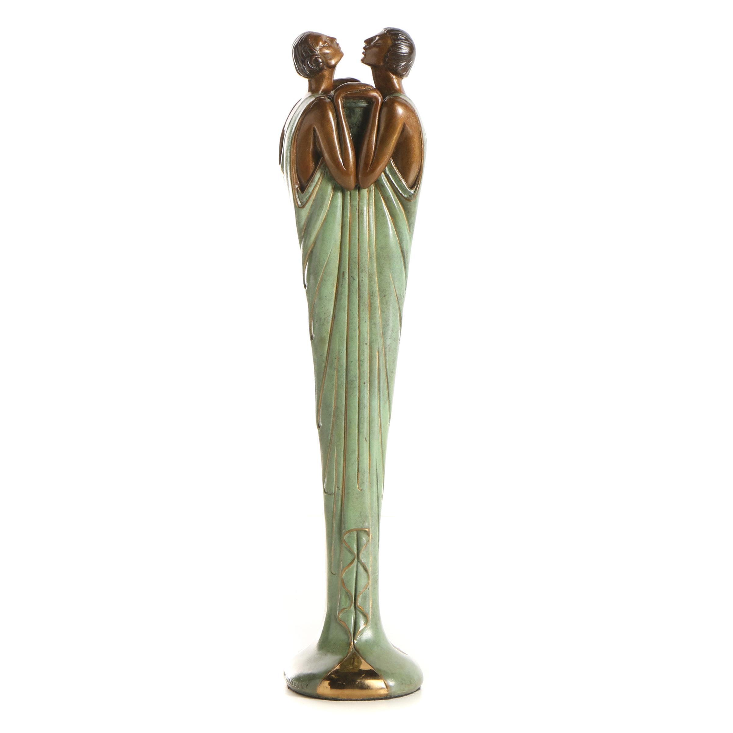 "Erté Patinated Bronze Sculpture ""Flora I"""