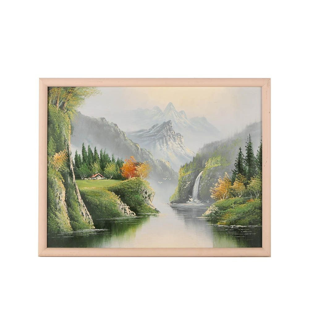 Circa 1980s Oil Painting of Mountain Landscape with Waterfall