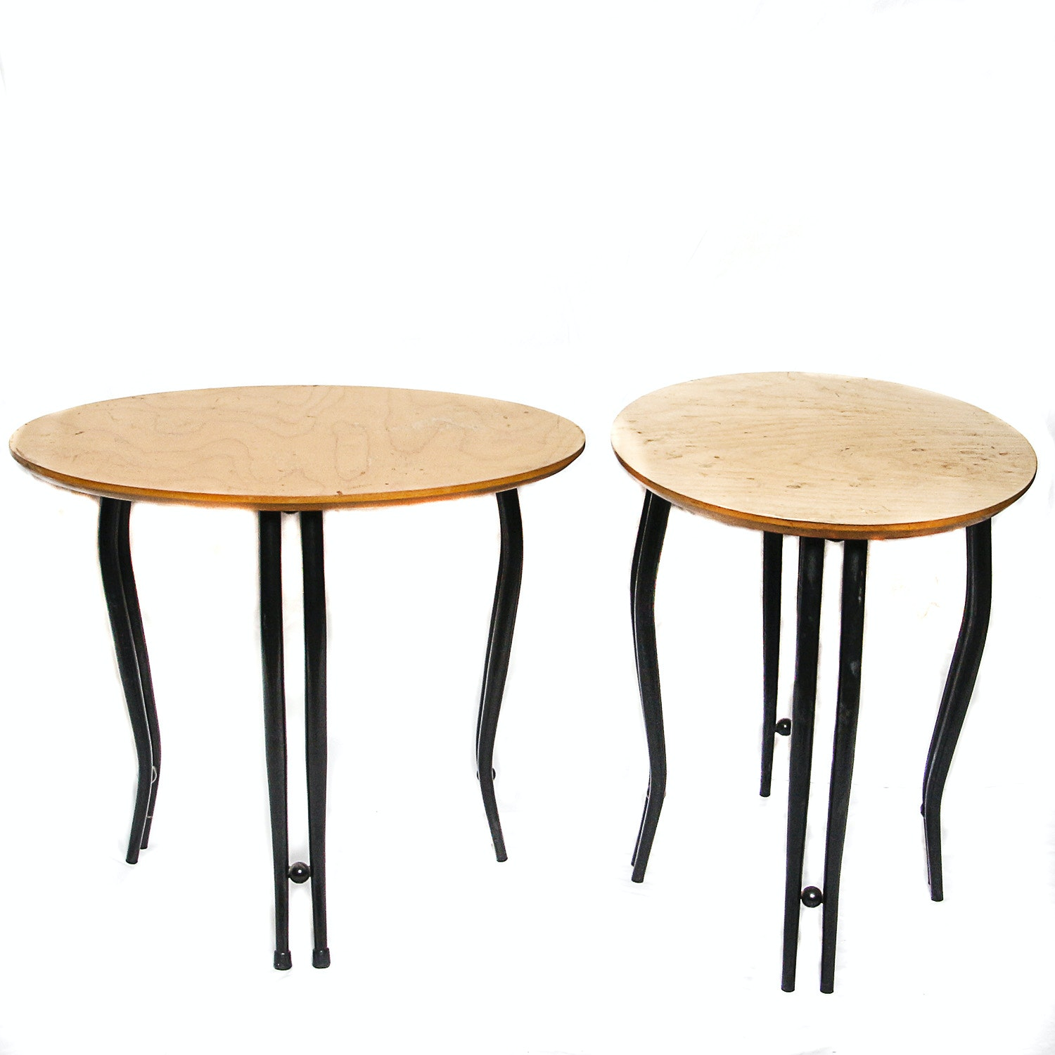 Contemporary Birch Wood and Metal Accent Tables