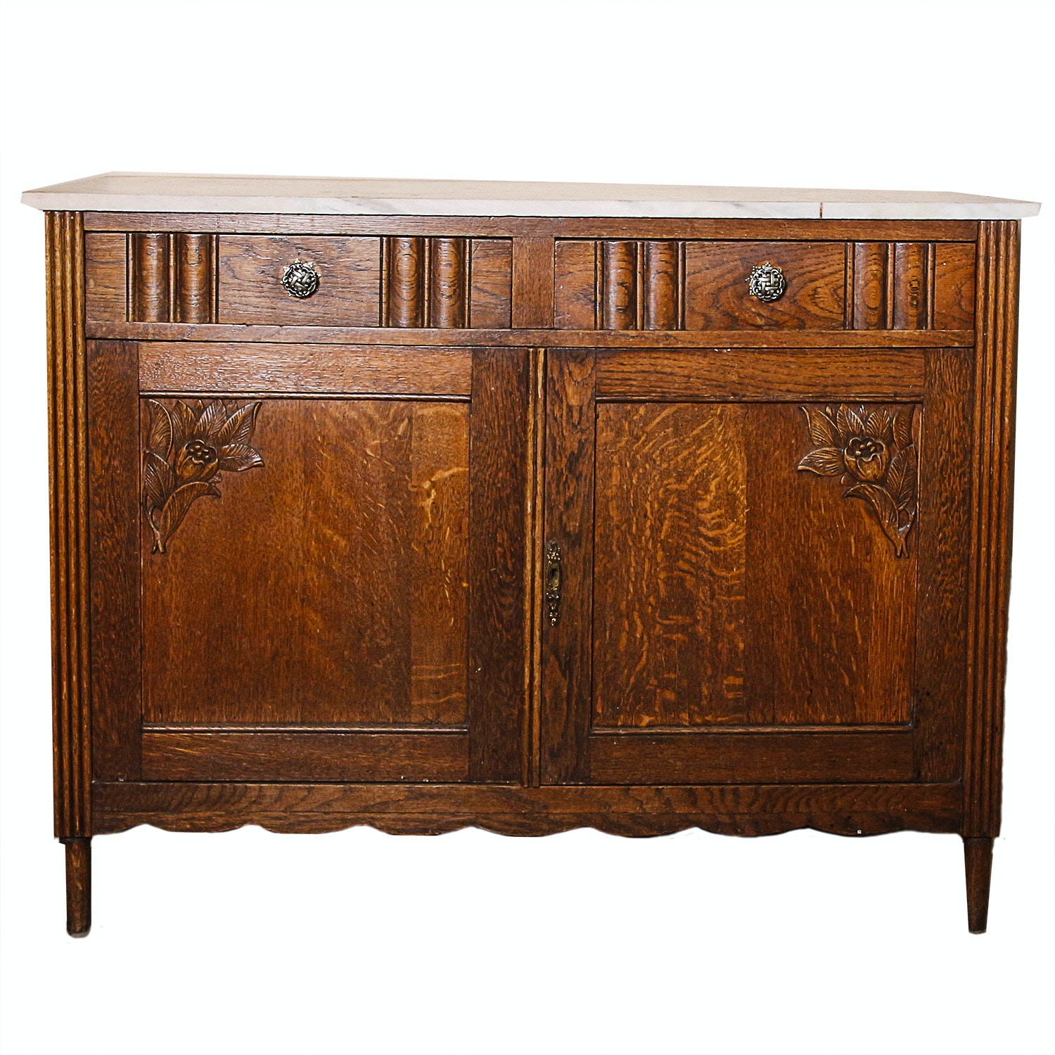 Antique Victorian Oak Marble Top Cabinet