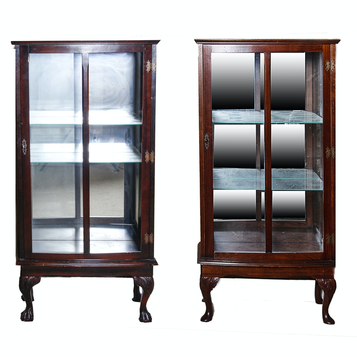 Pair of Vintage Mahogany Display Cabinets