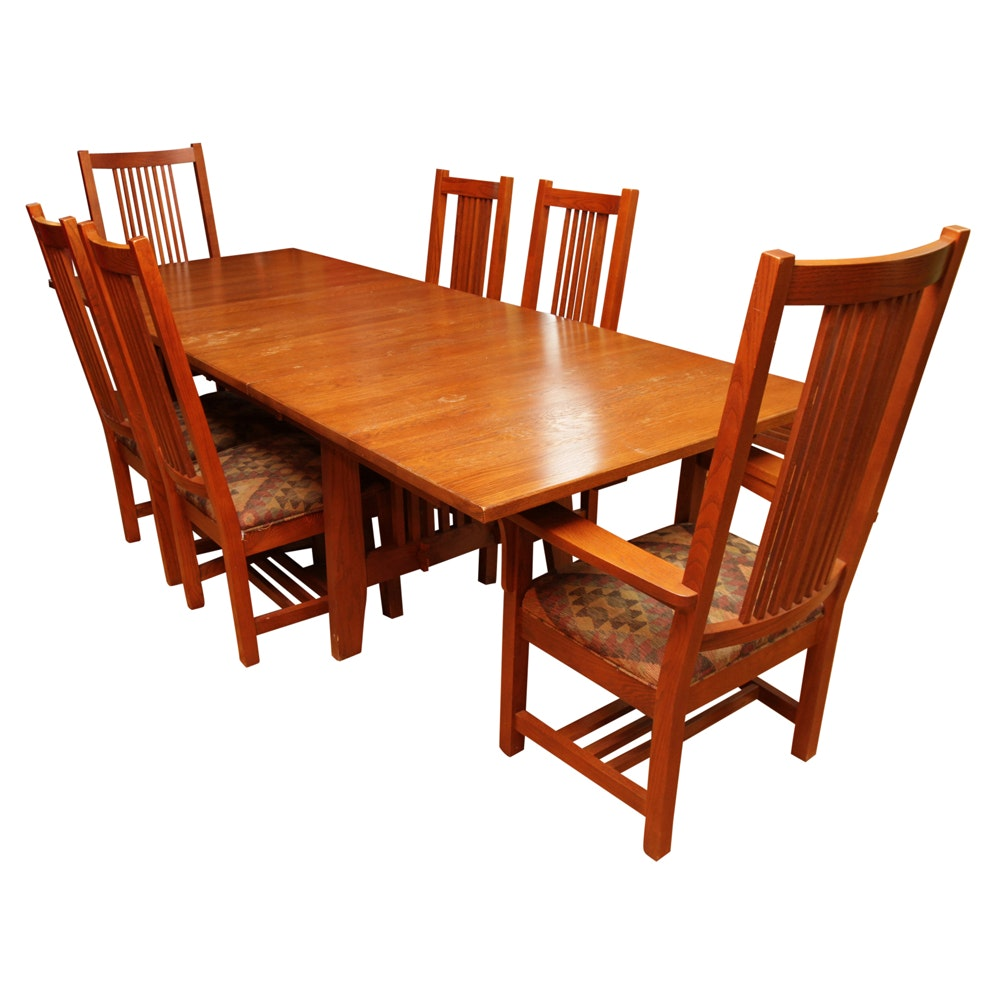 Mission Style Oak Dining Table By Kincaid And Spindle Chairs ...