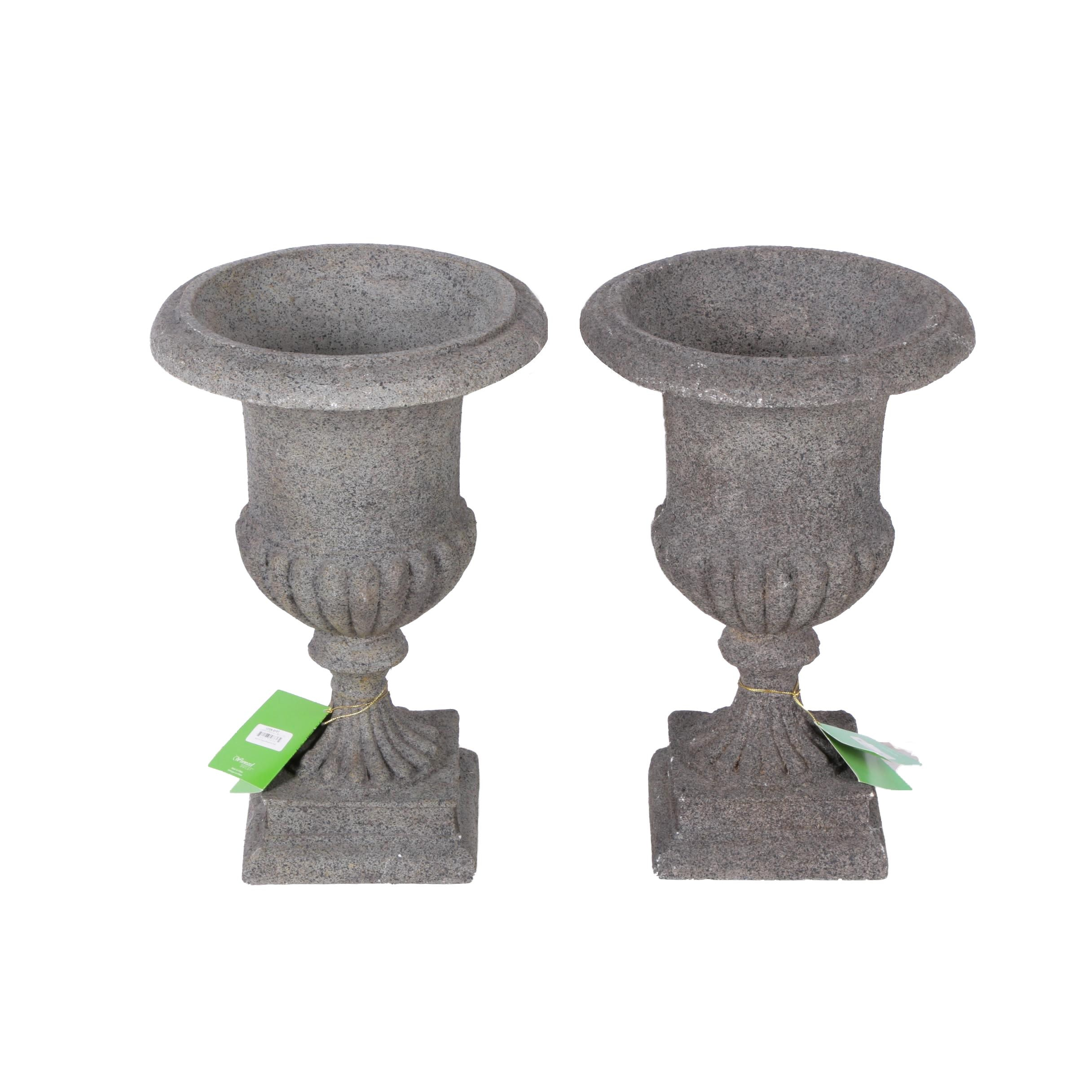 Pair of Resin Urn Shaped Footed Planters in Painted Stone Finishes