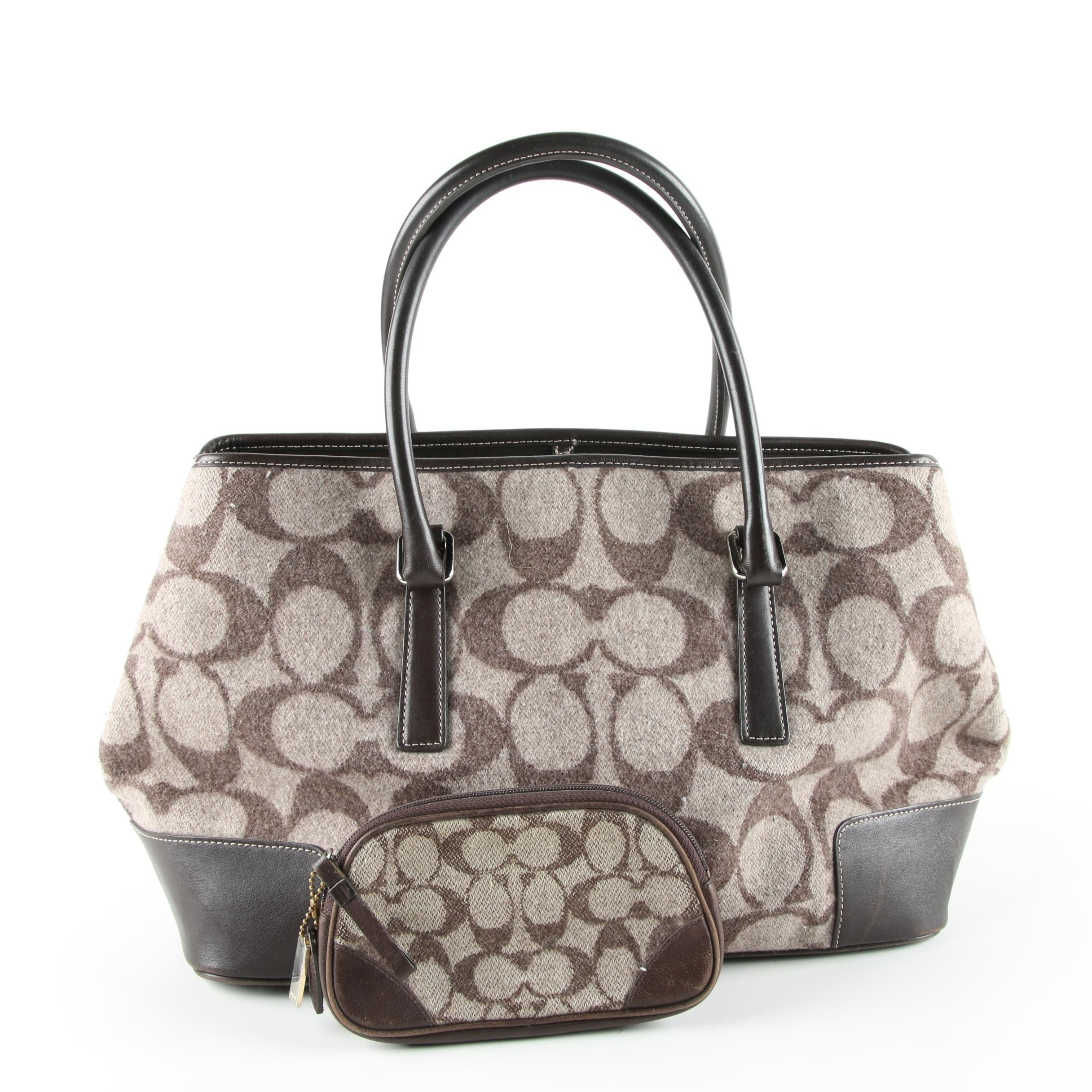 Coach Signature Wool Shoulder Bag and Coin Purse