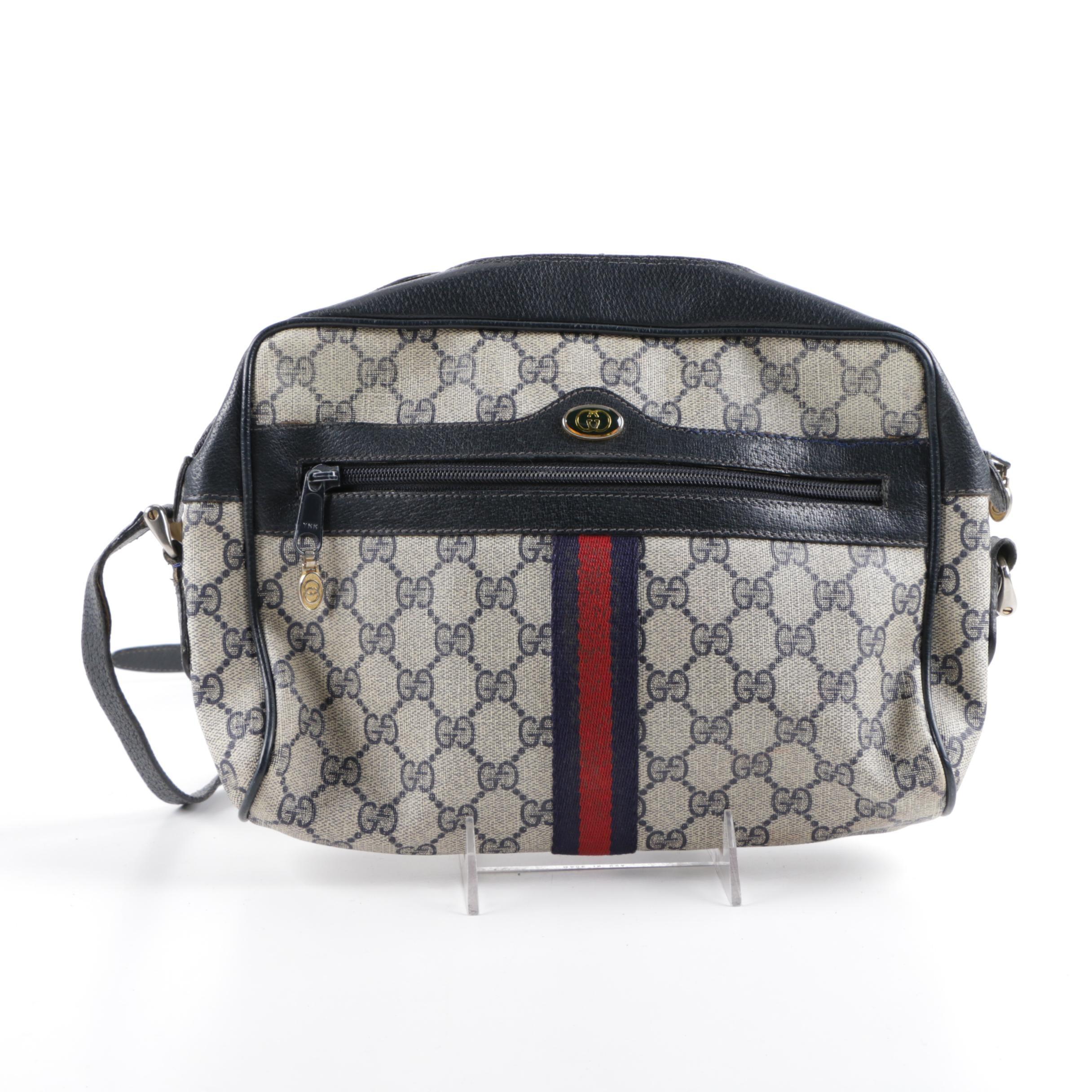 Vintage Gucci Supreme Canvas Navy Blue Crossbody Handbag