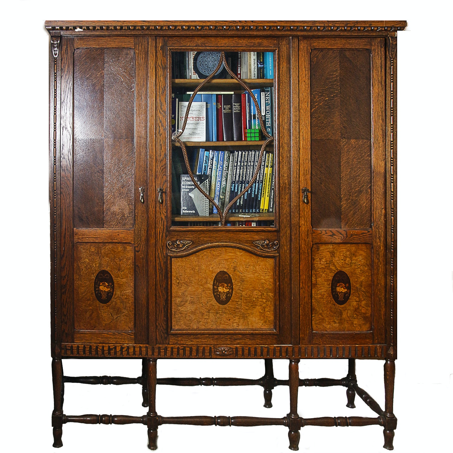 Vintage Jacobean Revival Cabinet-on-Stand with Neoclassical Inlays