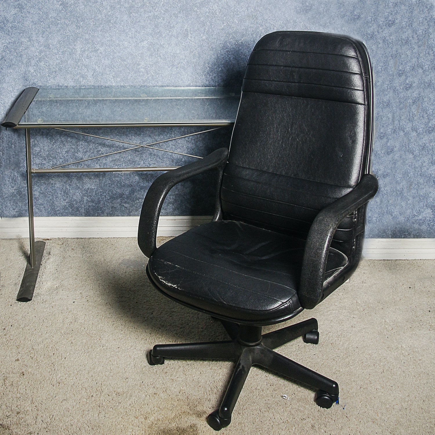 Glass Top Desk with Office Chair