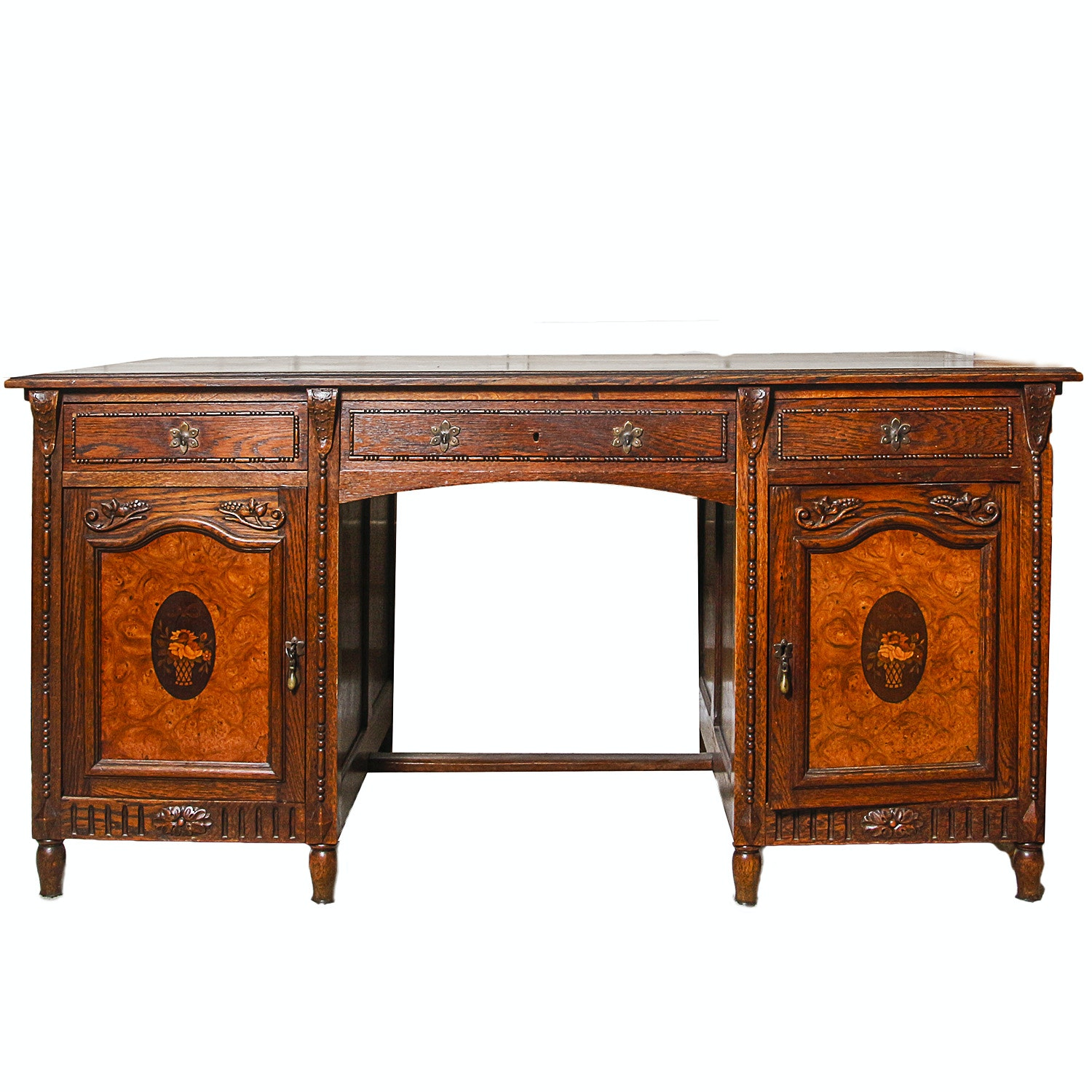 Vintage Jacobean Revival Style Double Pedestal Desk with Neoclassical Inlays