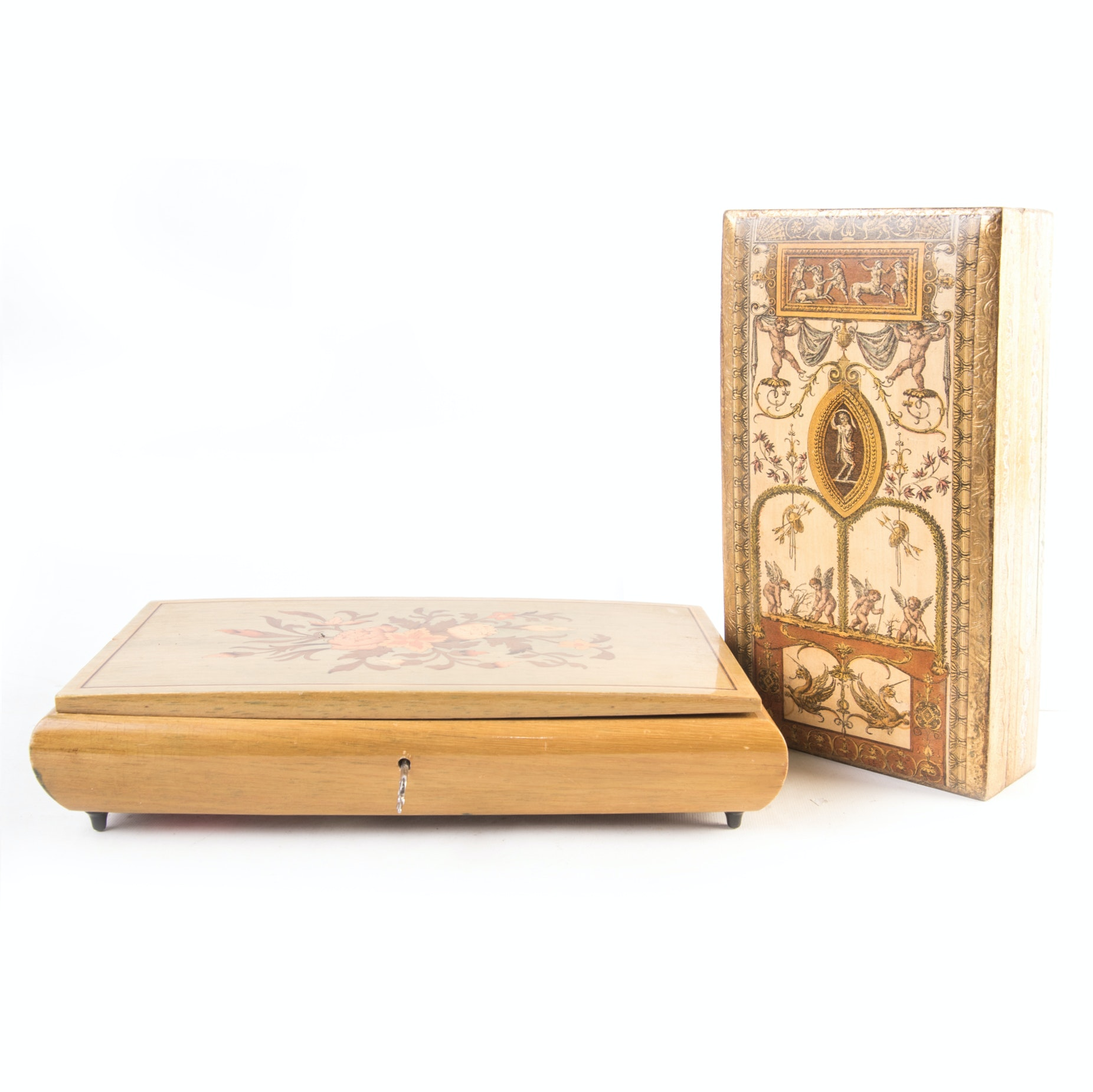 Wooden Italian Trinket Boxes Featuring Reuge Music Box
