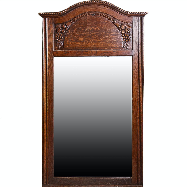 Antique Wood Framed Biedermeier Style Vanity Mirror