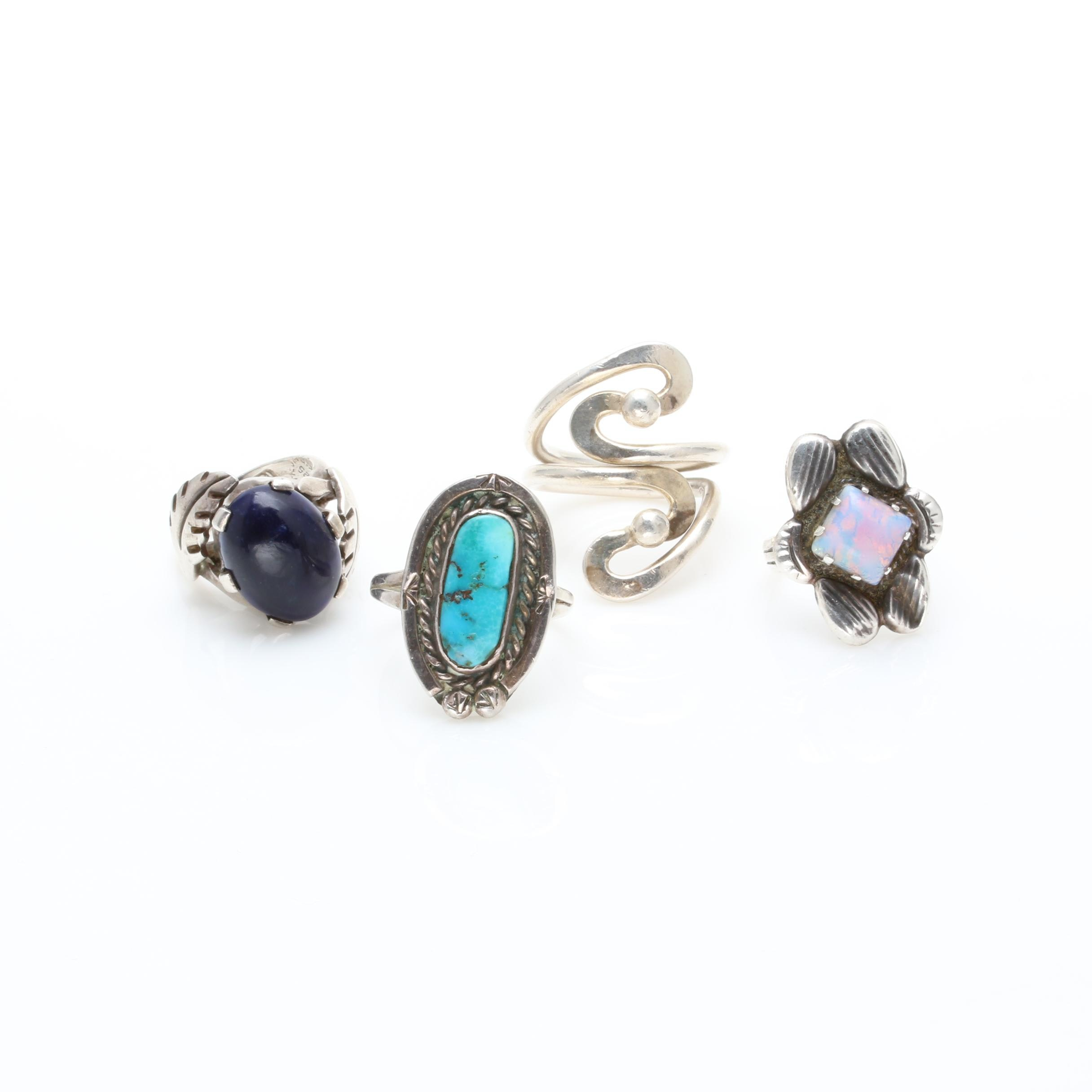 Southwestern Style Sterling Silver Ring Selection Including Imitation Opal