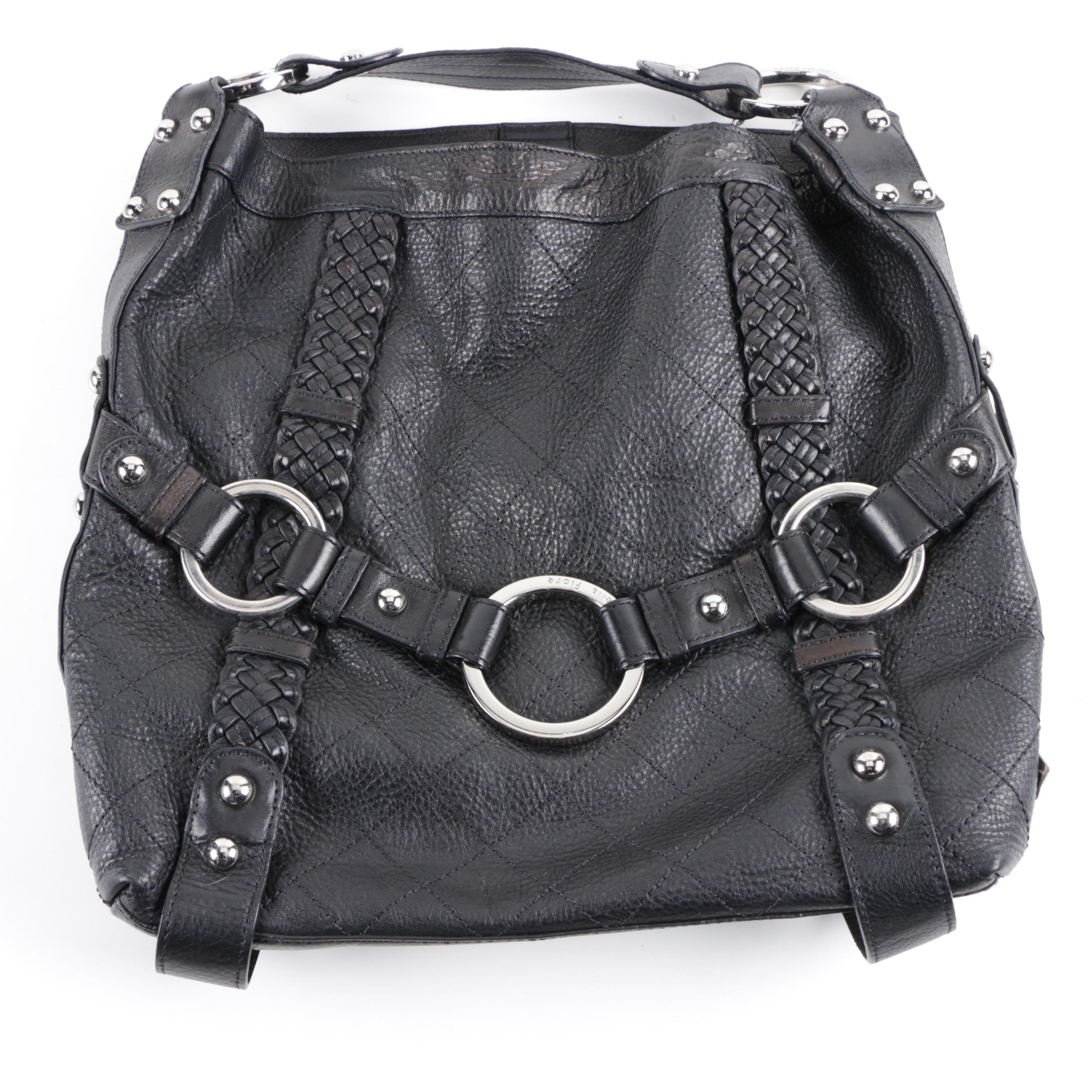 Isabella Fiore Black Quilted Pebbled Leather Handbag