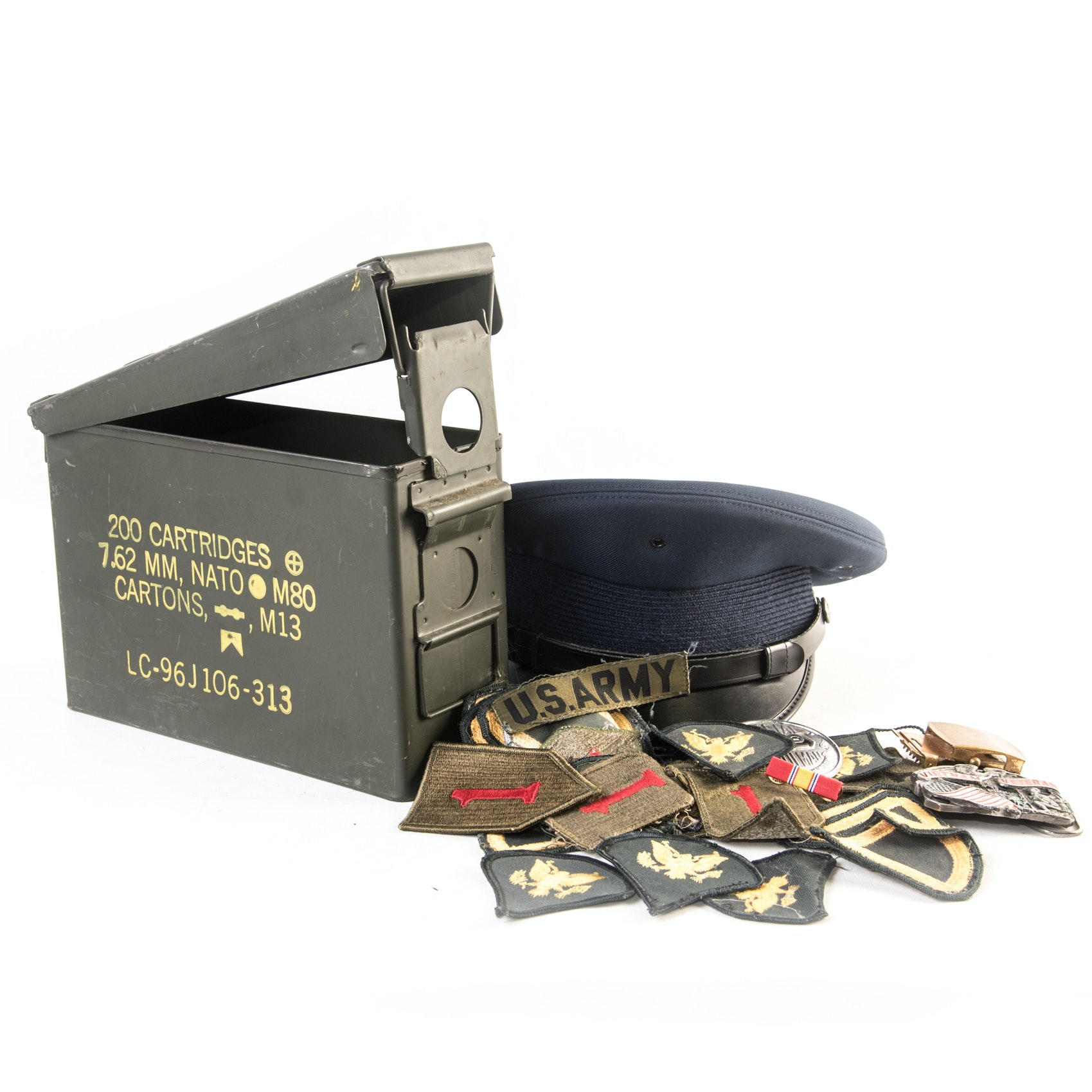 Military Patches, Ammo Box and Dress Uniform Hat