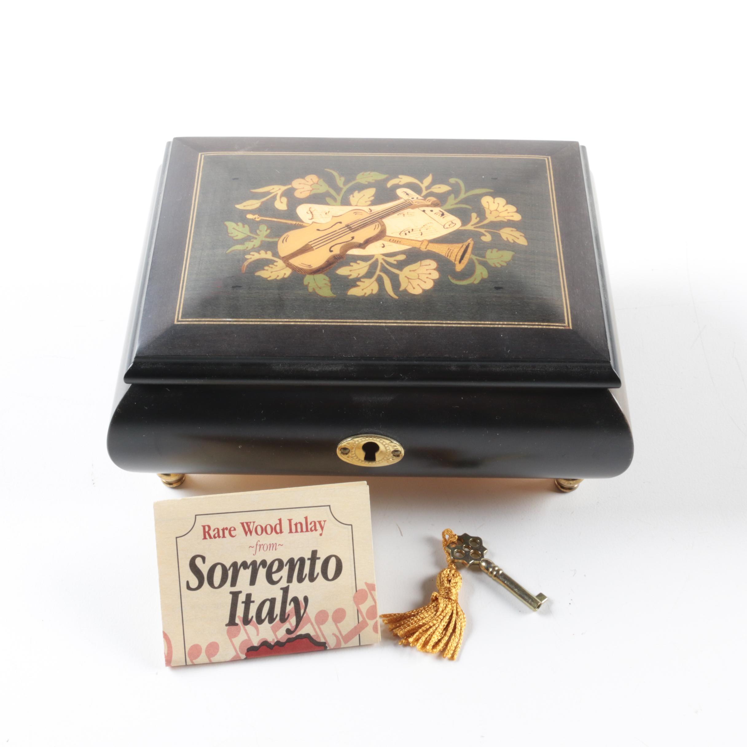 Italian Wood Inlay Musical Jewelry Box