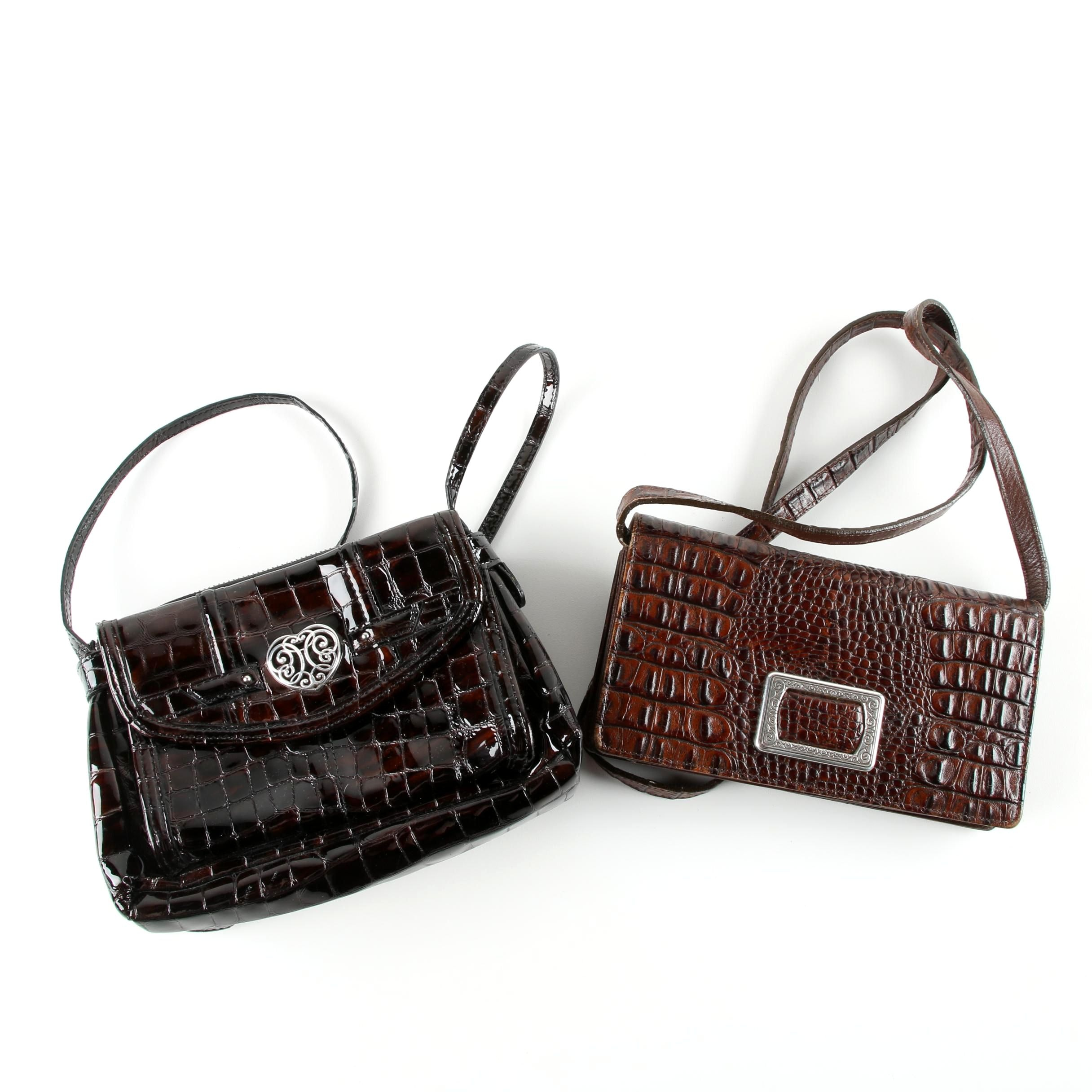 Brighton Embossed Reptile Patterned Brown Leather Handbags