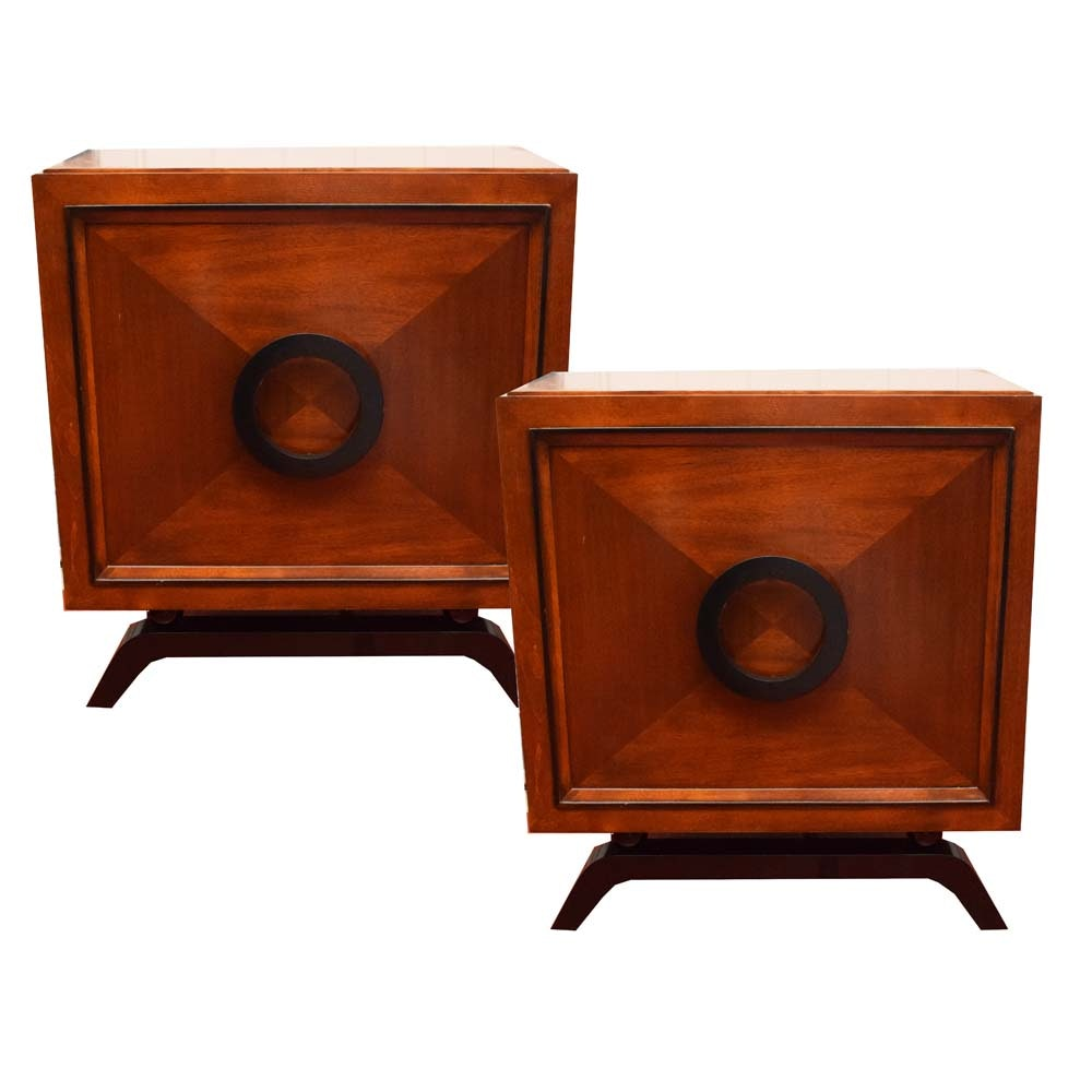 Contemporary Mahogany Veneer Nightstands