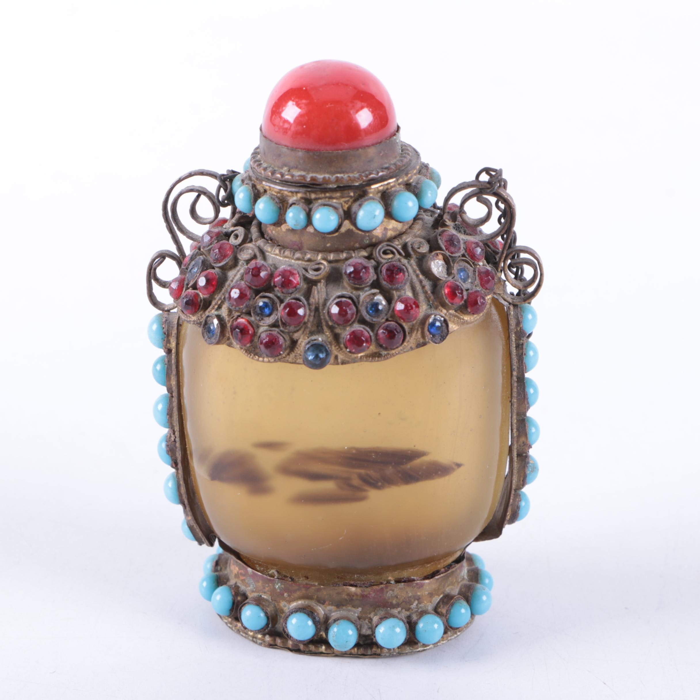 Metal and Glass Embellished Snuff Bottle