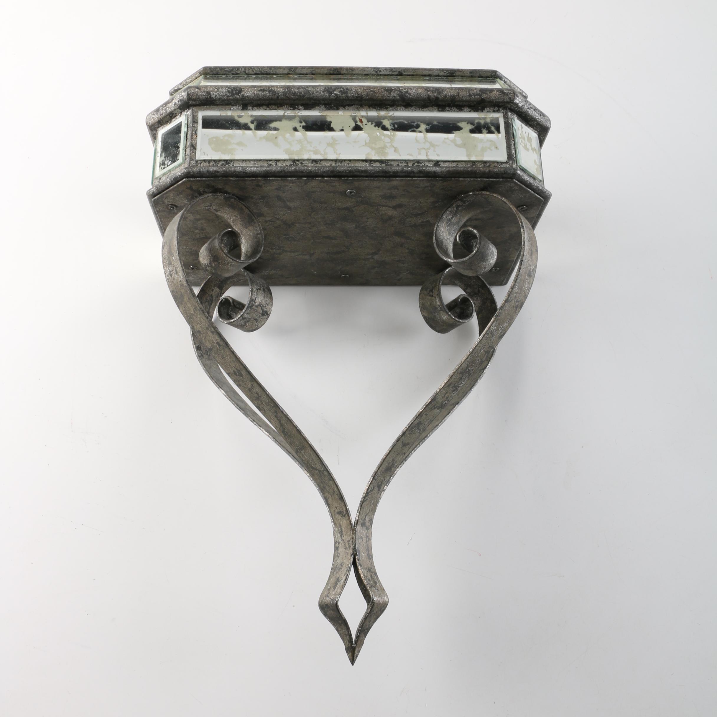 Hanging Metal and Glass Wall Shelf