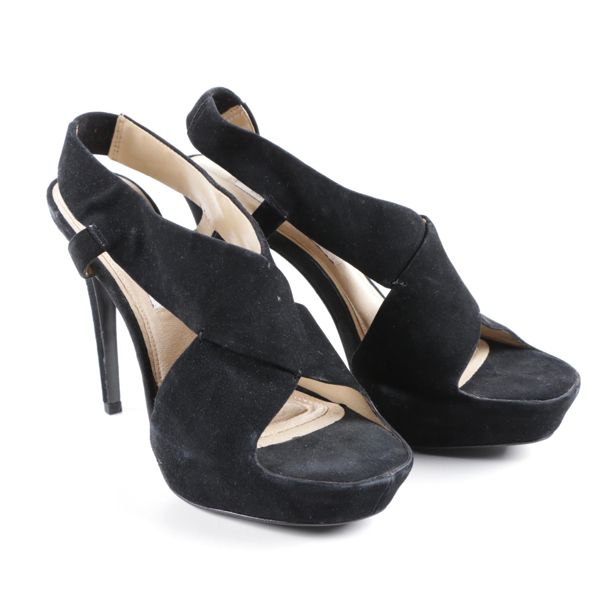 Diane Von Furstenberg Black Suede Platform Stiletto Heels