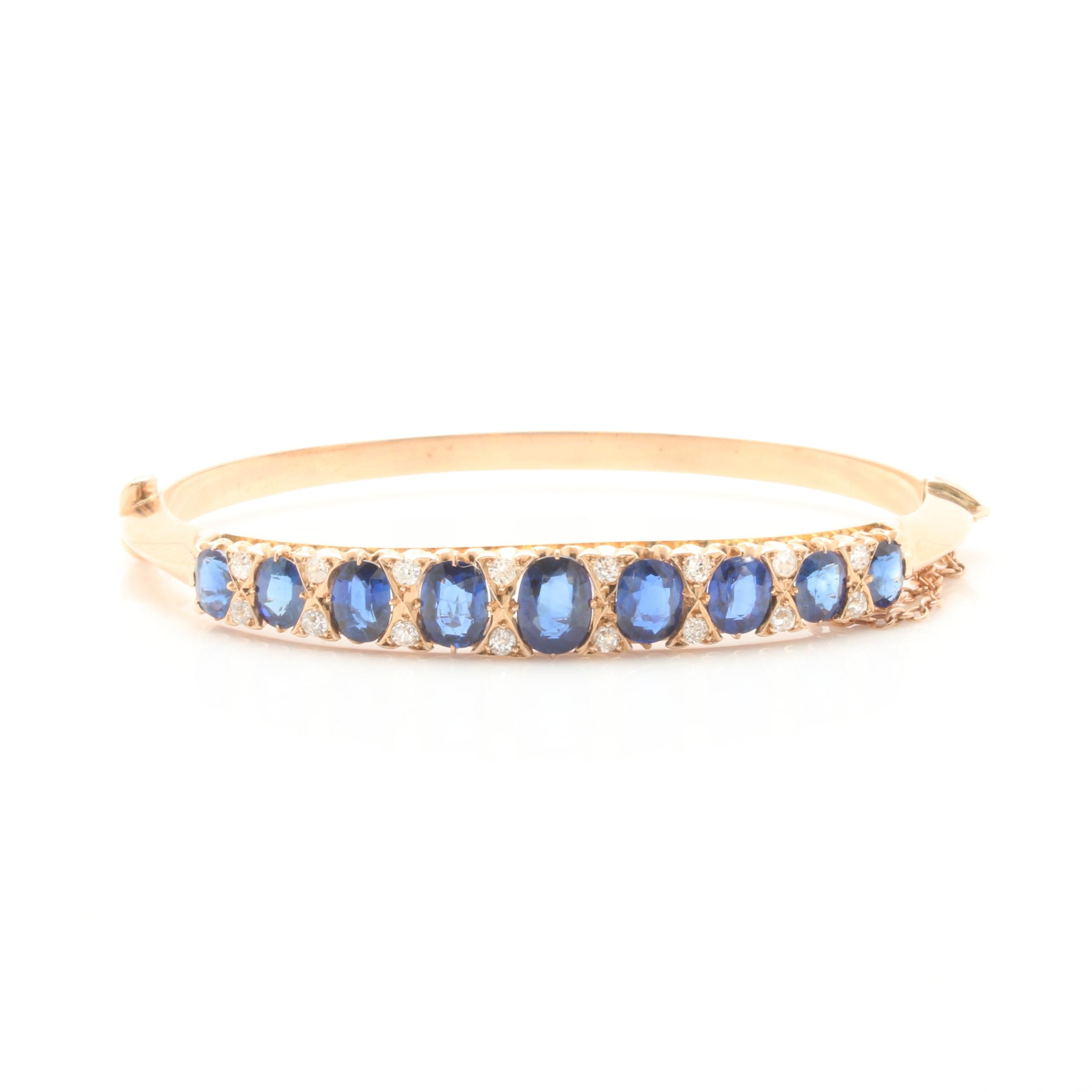Vintage 14K Yellow Gold Untreated Blue Sapphire and Diamond Hinged Bangle