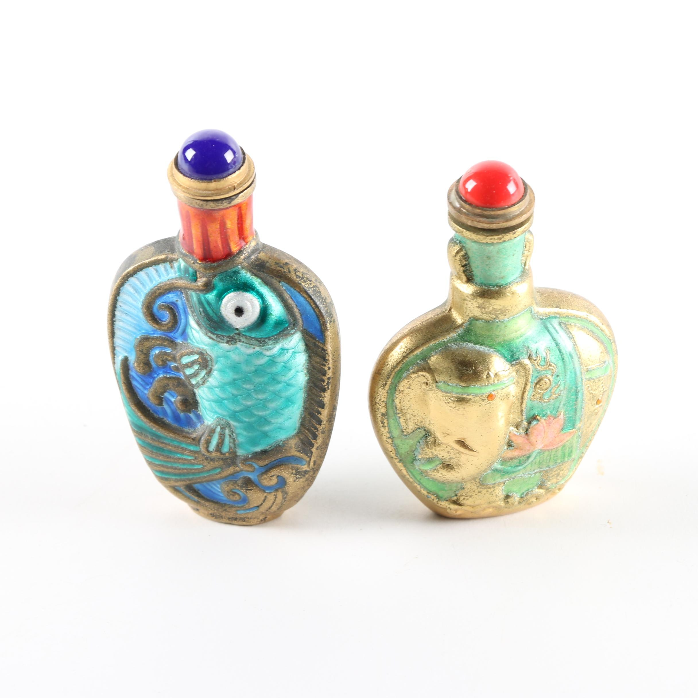 Pairing of Vintage Chinese Enameled Snuff Bottles