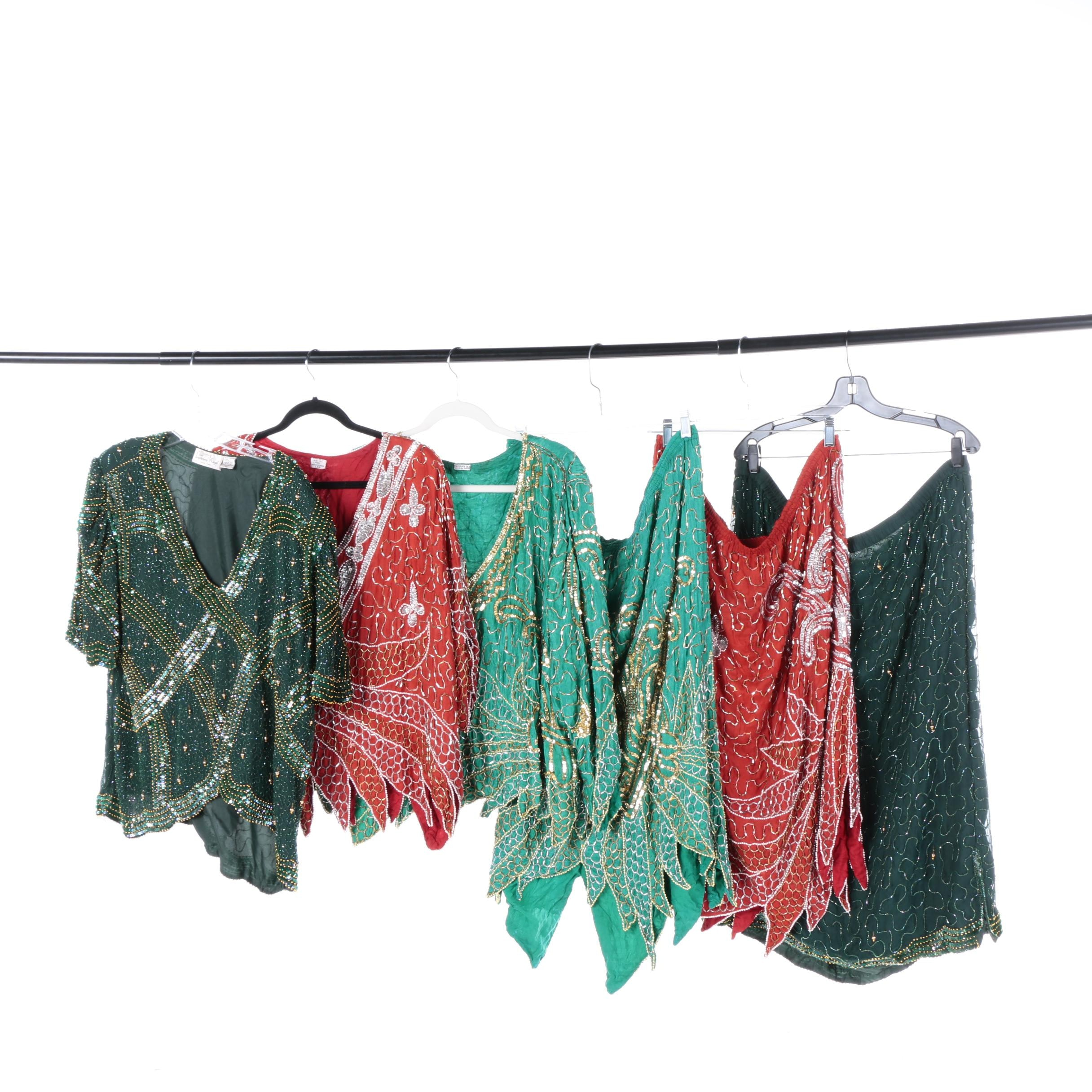 Women's Vintage Beaded and Sequined Two Piece Outfits Including Laurence Kazar