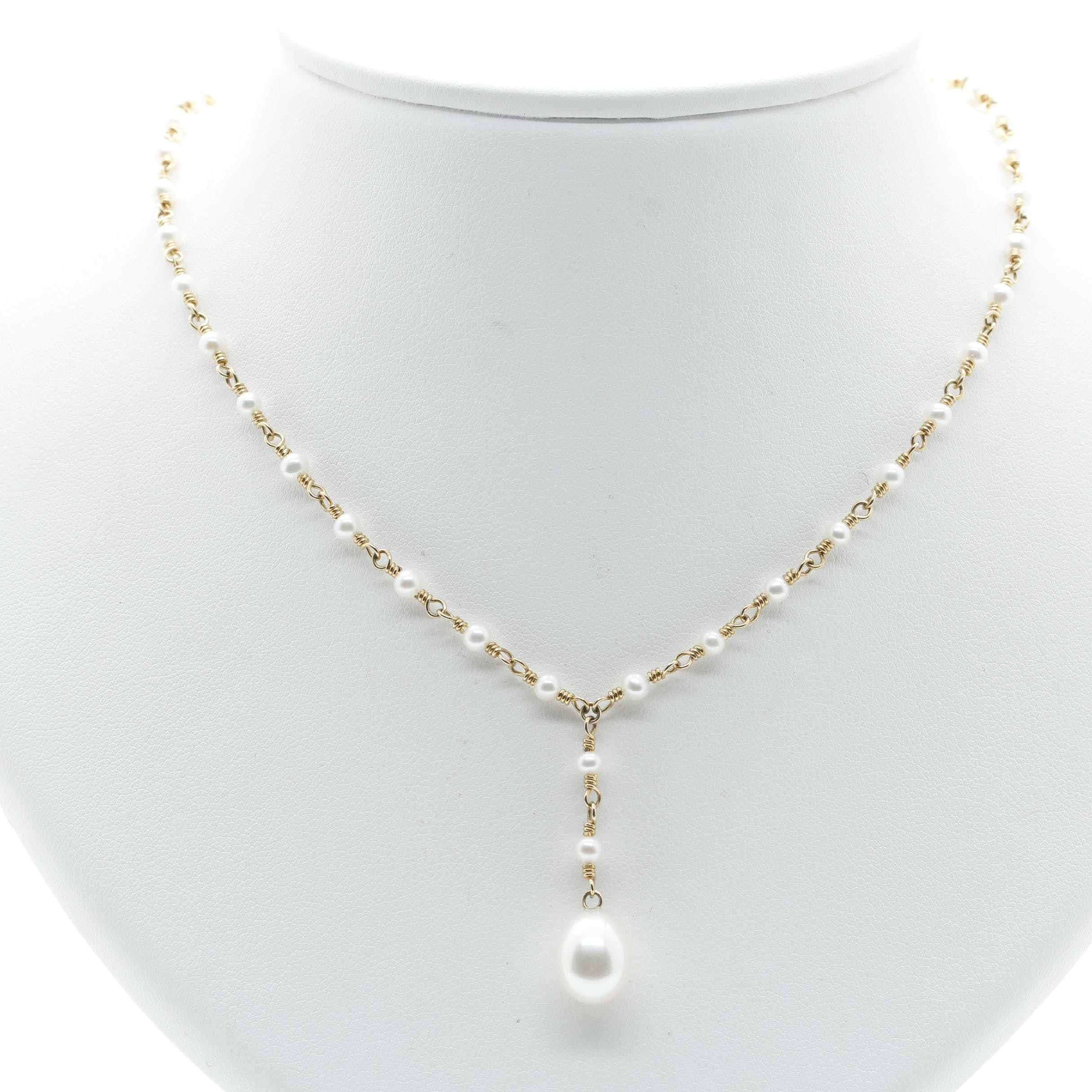 Tiffany & Co. 18K Yellow Gold Cultured Pearl Drop Necklace