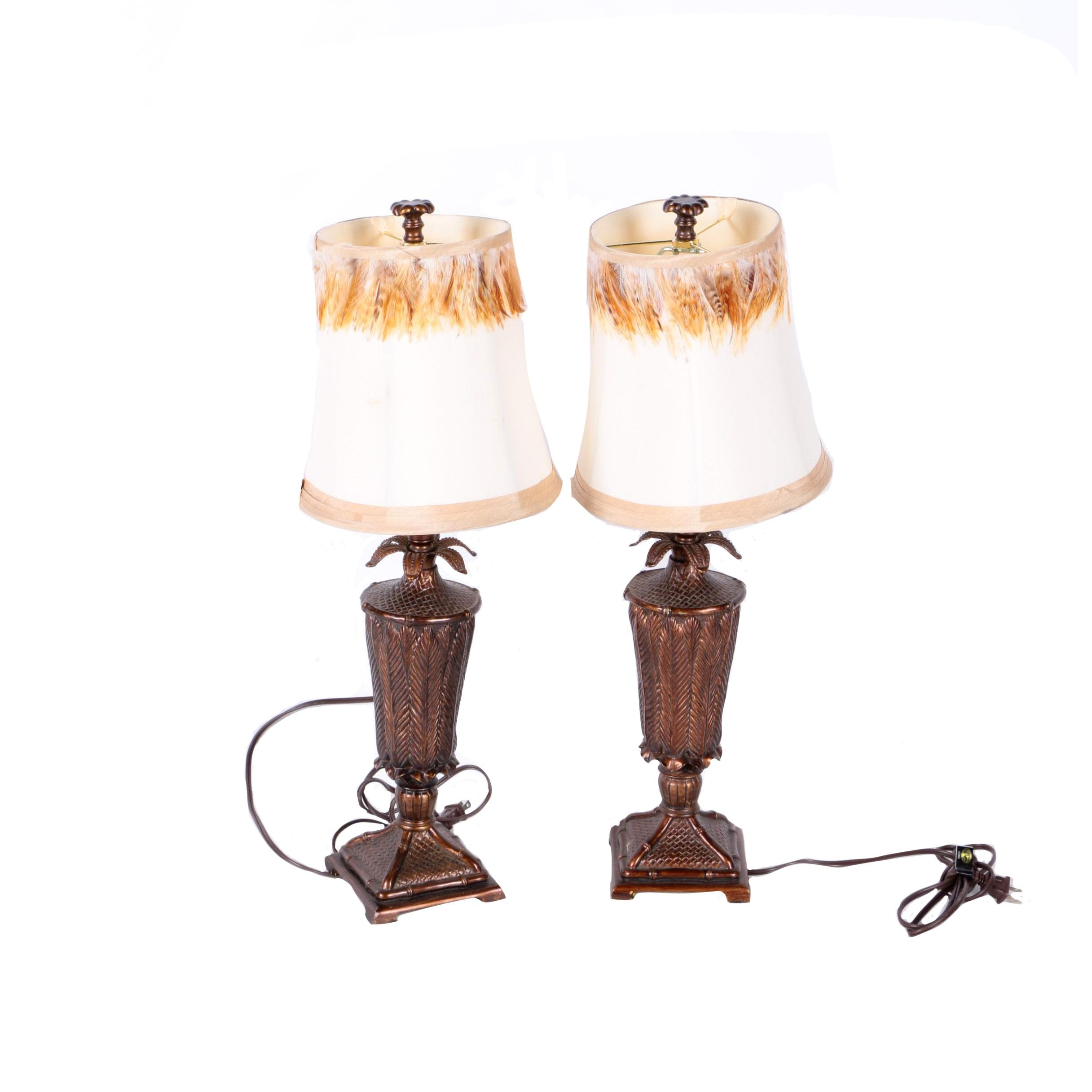 Pair of Table Lamps with Feather Embellished Shades