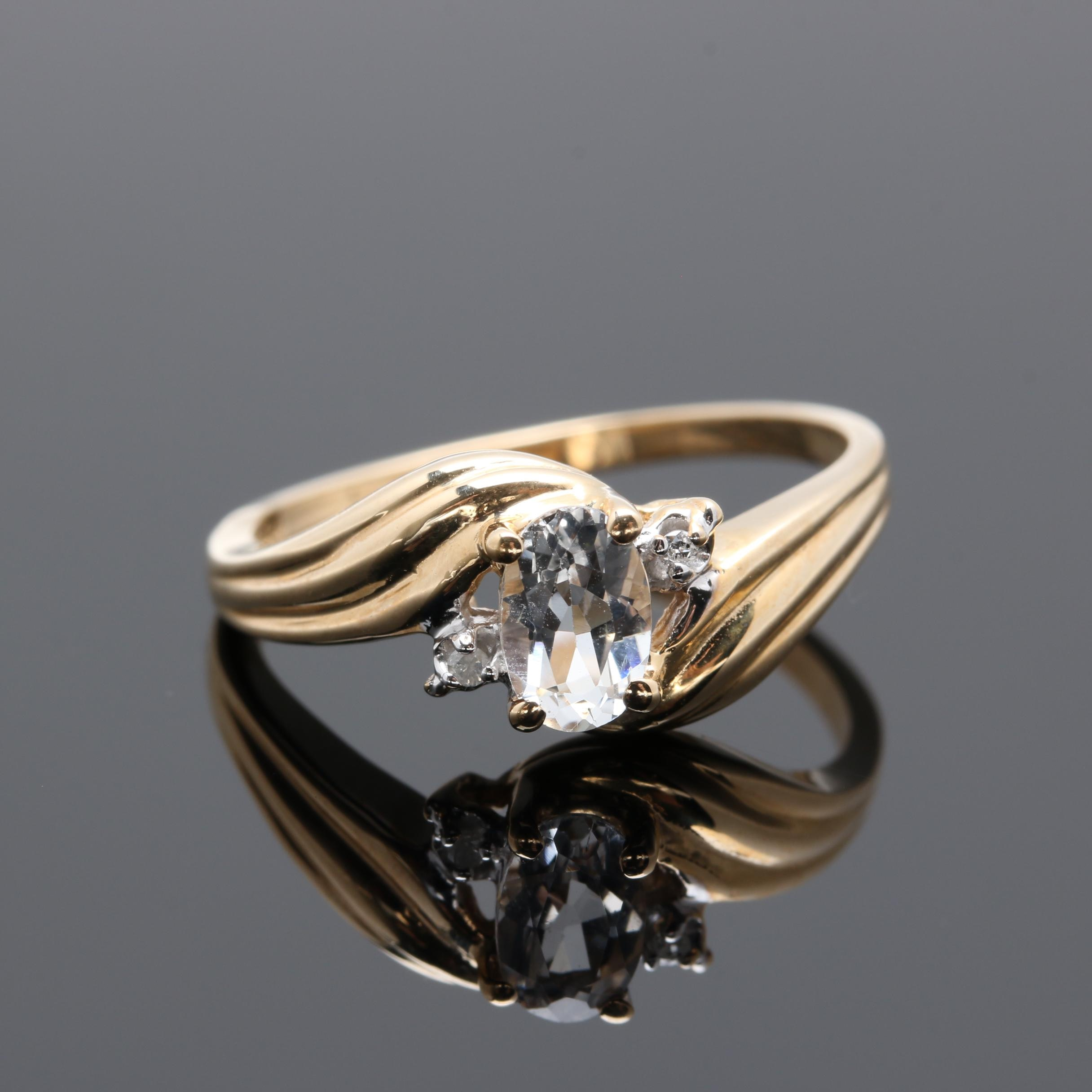 10K Yellow Gold White Topaz and Diamond Ring