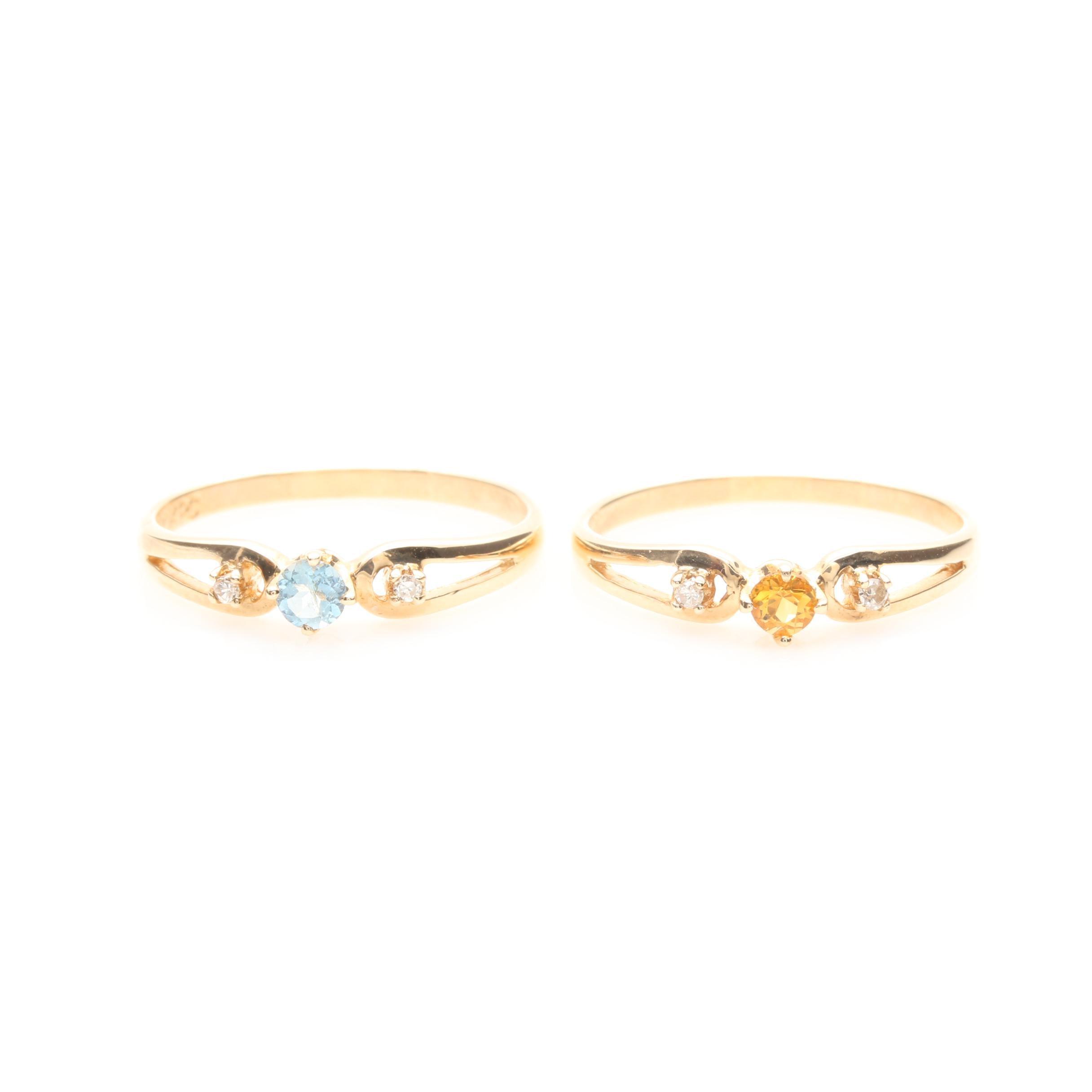 10K Yellow Gold Aquamarine, Citrine, and Diamond Rings