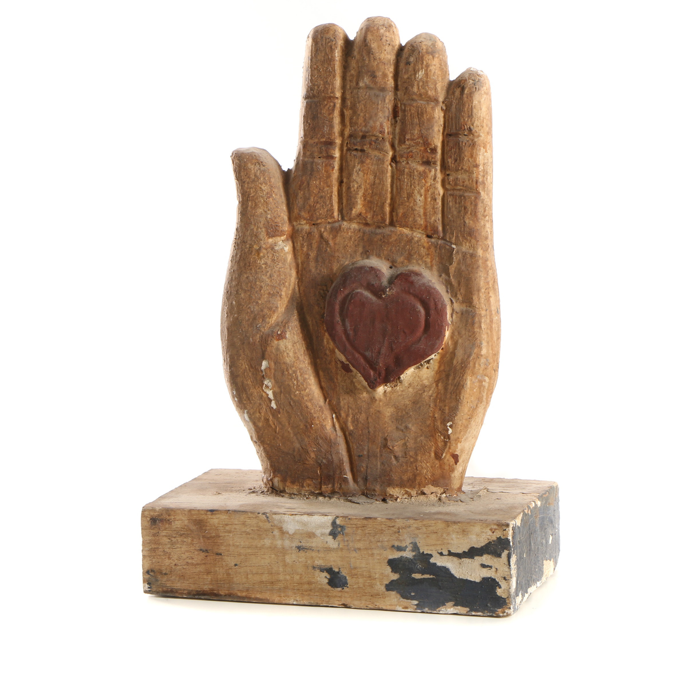 Folk Art Style Polychrome Sculpture of Hand with All Seeing Eye