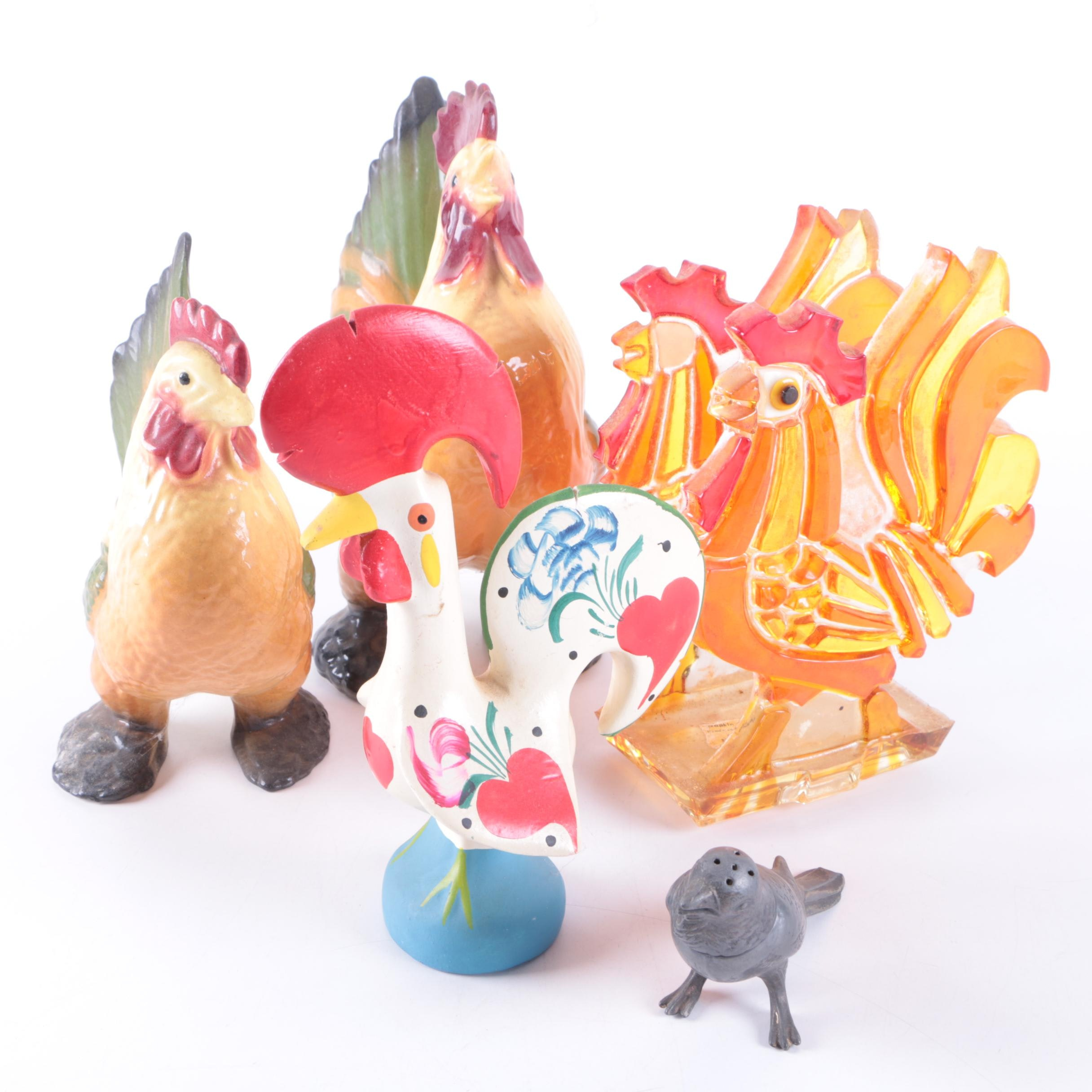 Ceramic, Glass, and Metal Rooster Figurines