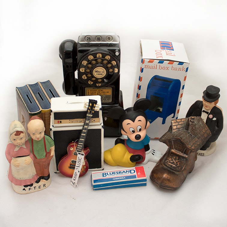 Vintage and Modern Coin Bank Collection with Bluesband Harmonica